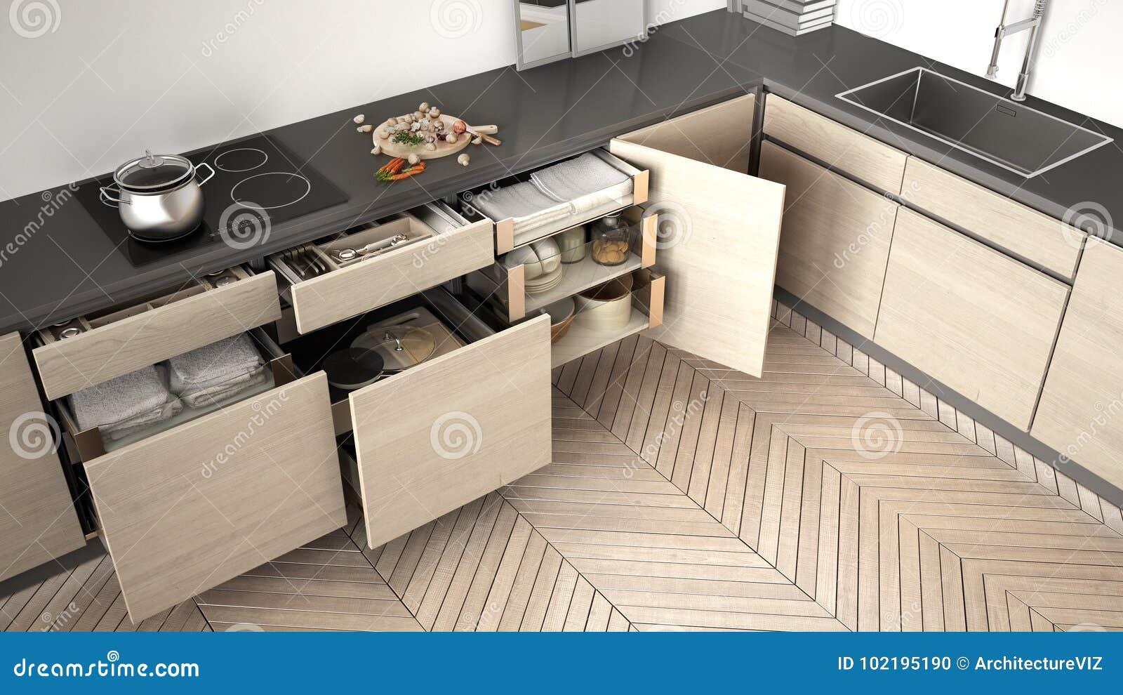Accessori Per Cucina Moderna.Vista Superiore Della Cucina Moderna Cassetti Di Legno