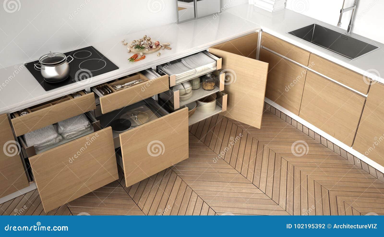 Vista Superiore Della Cucina Moderna, Cassetti Di Legno Aperti Con ...