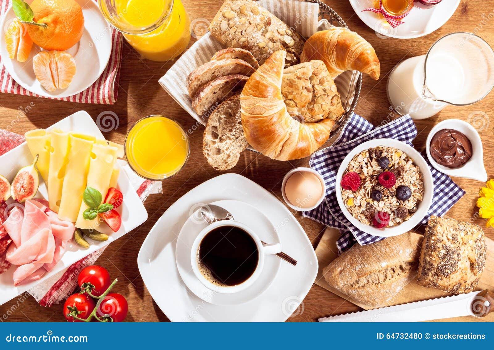 Vista superiore della prima colazione