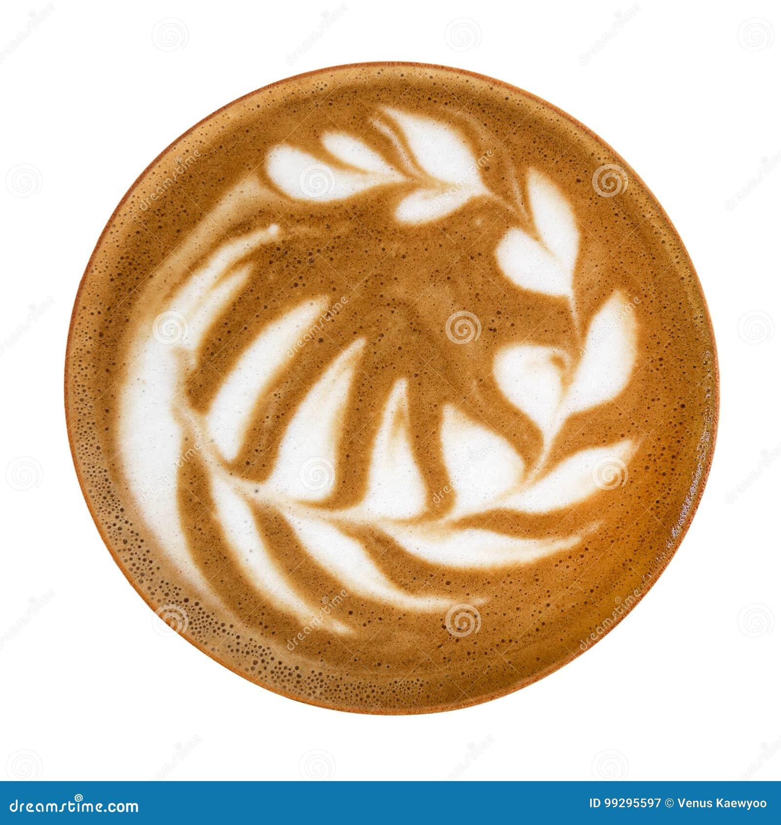 Vista superiore della schiuma calda di arte del latte del cappuccino del caffè isolata su fondo bianco, percorso