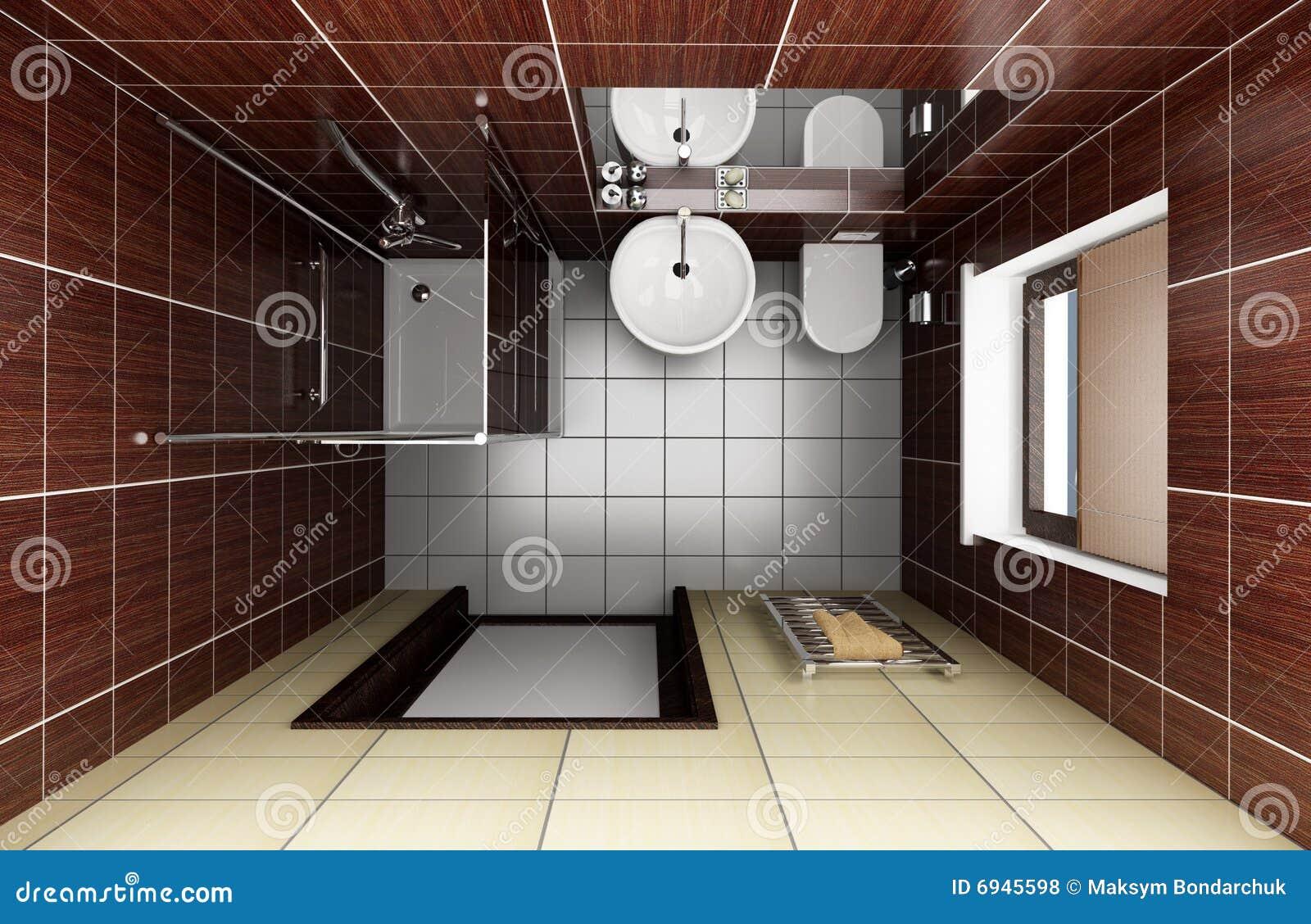 Vista superiore delle mattonelle moderne marroni della stanza da bagno fotografie stock libere - Mattonelle bagno moderne ...