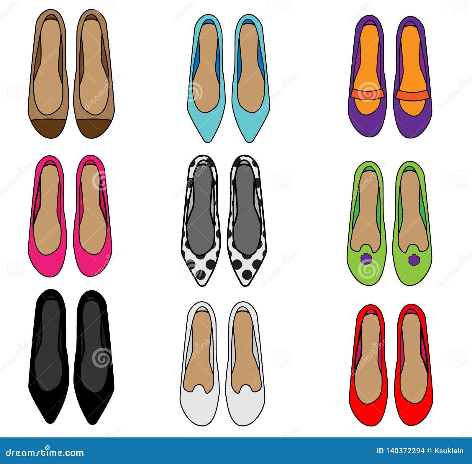 Vista superiore delle scarpe della donna Insieme femminile delle pantofole di modo Raccolta delle icone di vettore