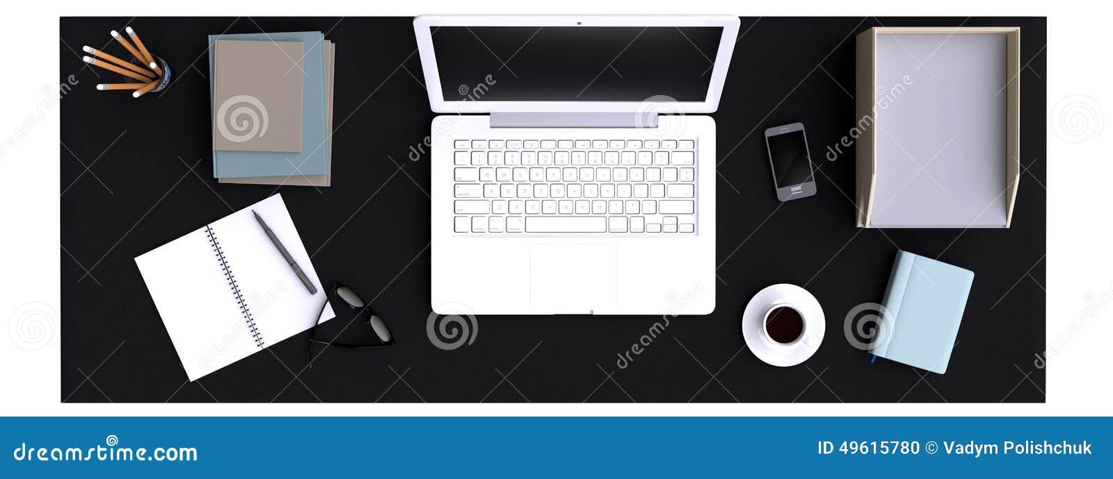 Vista superiore di area di lavoro con il computer portatile sulla tavola