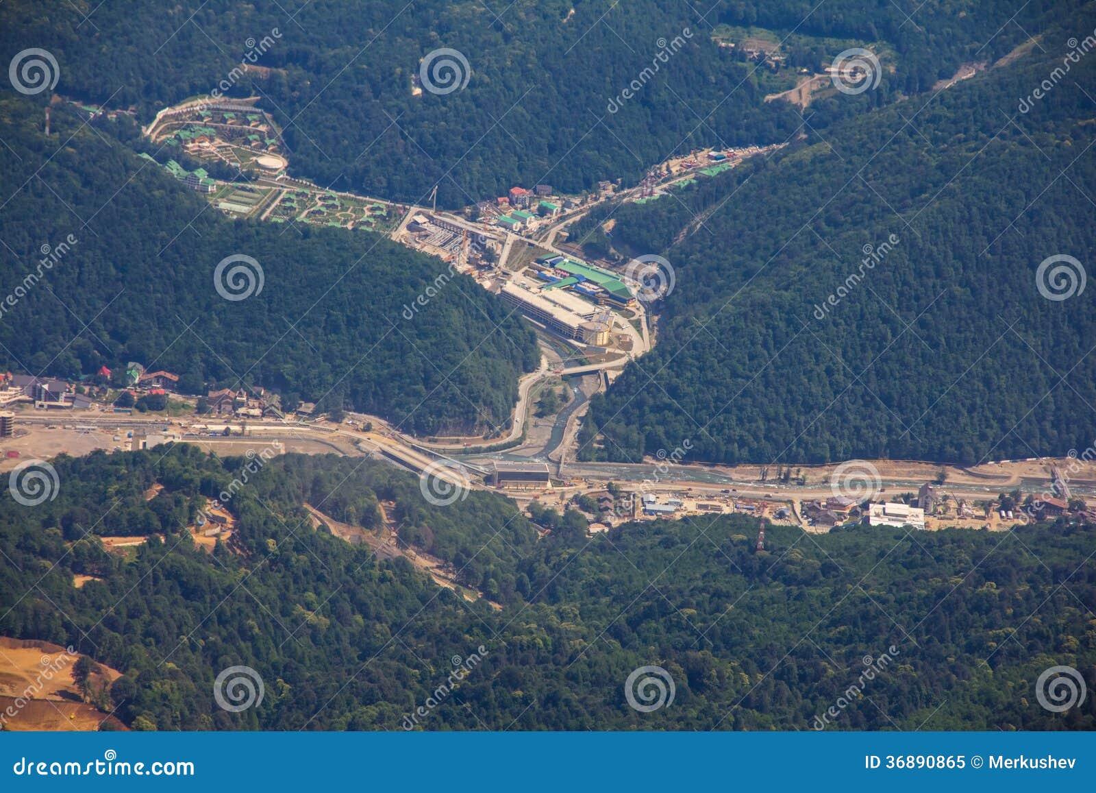 Download Vista Superiore Di Krasnaya Polyana, Soci, Russia. Immagine Stock - Immagine di legno, preparisi: 36890865