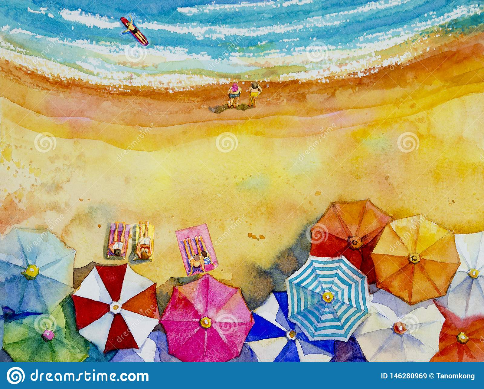 Vista superiore variopinta degli amanti, famiglia di vista sul mare dell acquerello della pittura