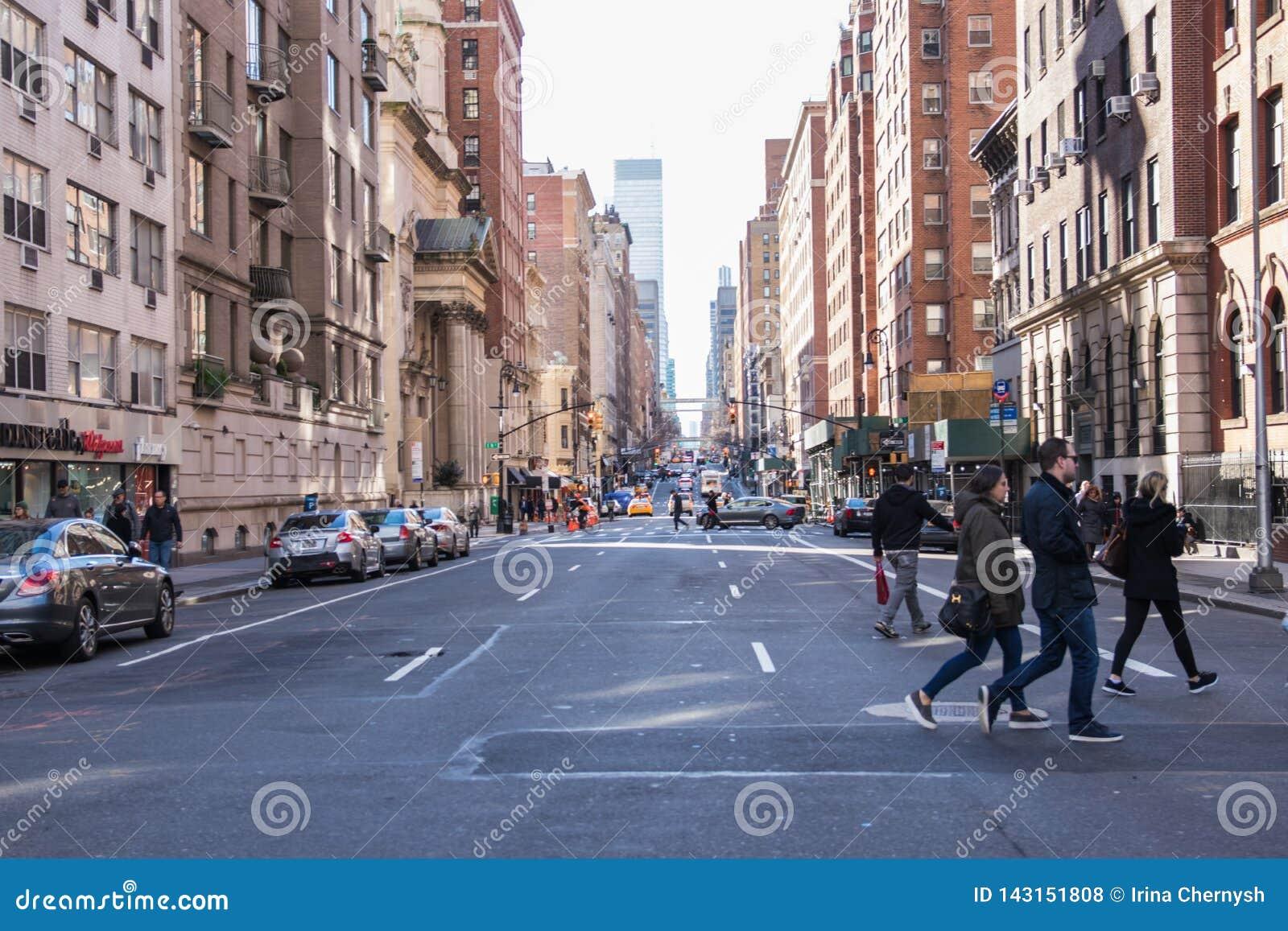 Vista tipica della via in Manhattan NEW YORK U.S.A. - 3 gennaio 2019