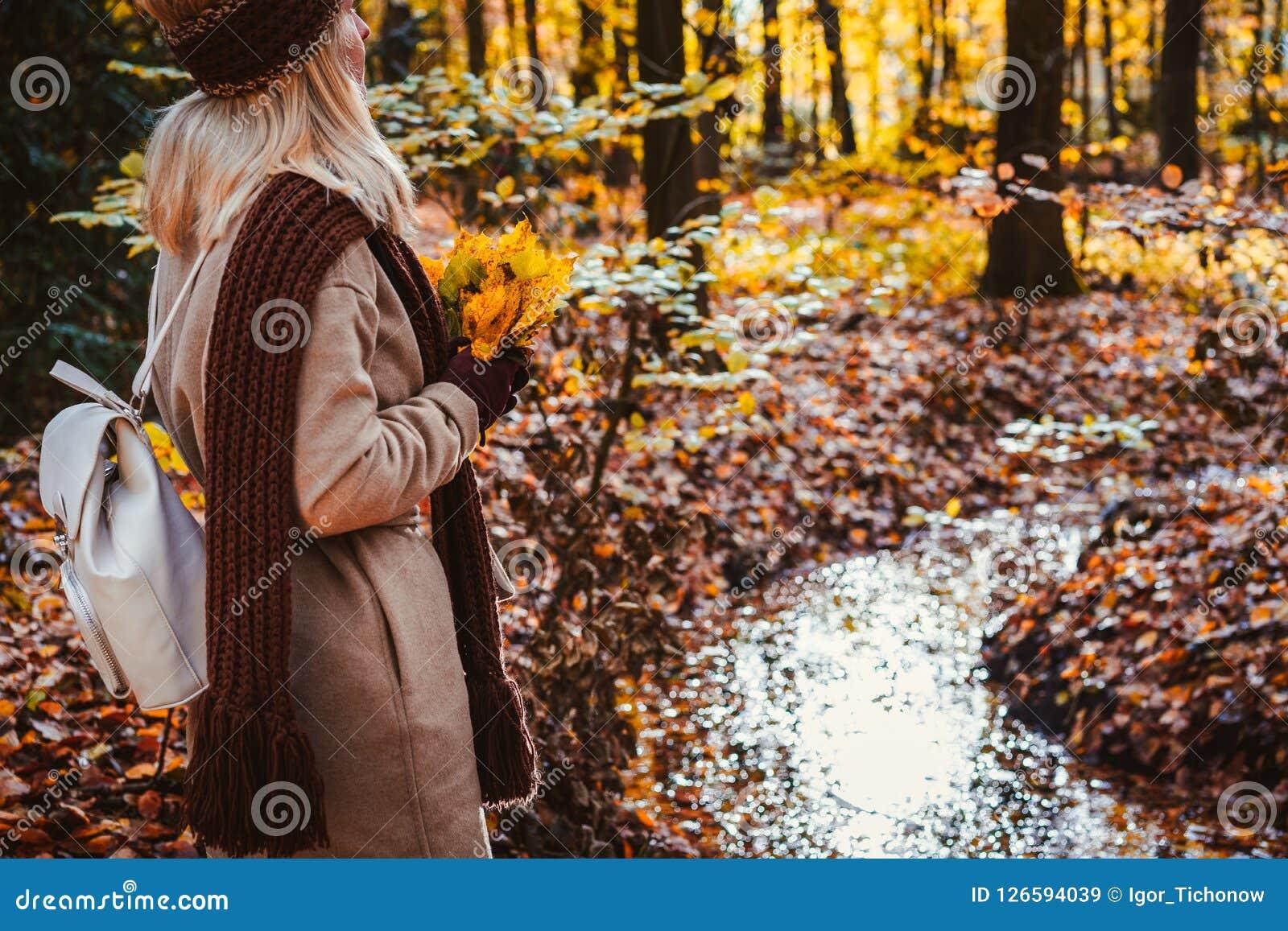 Vista traseira do ramalhete guardando fêmea das folhas de bordo amarelas do outono em suas mãos gloved Terra coberta com as folha