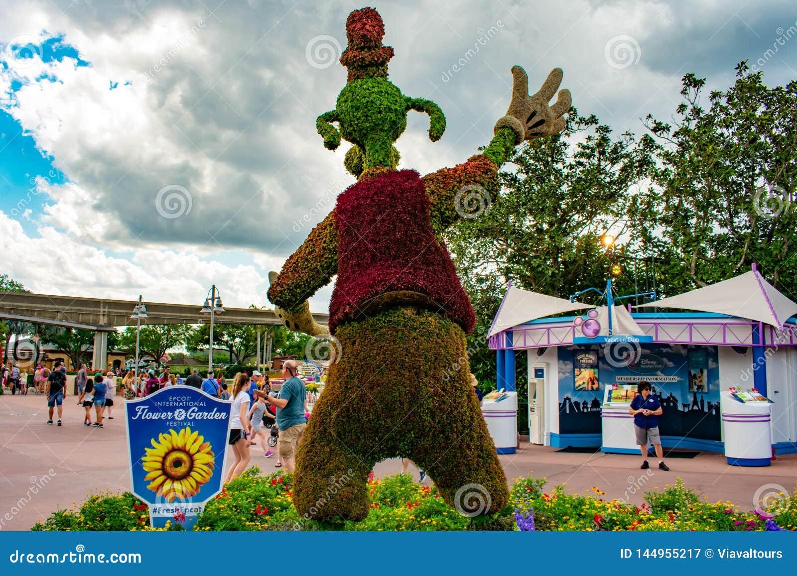 Vista trasera del topiarie torpe en Epcot en Walt Disney World