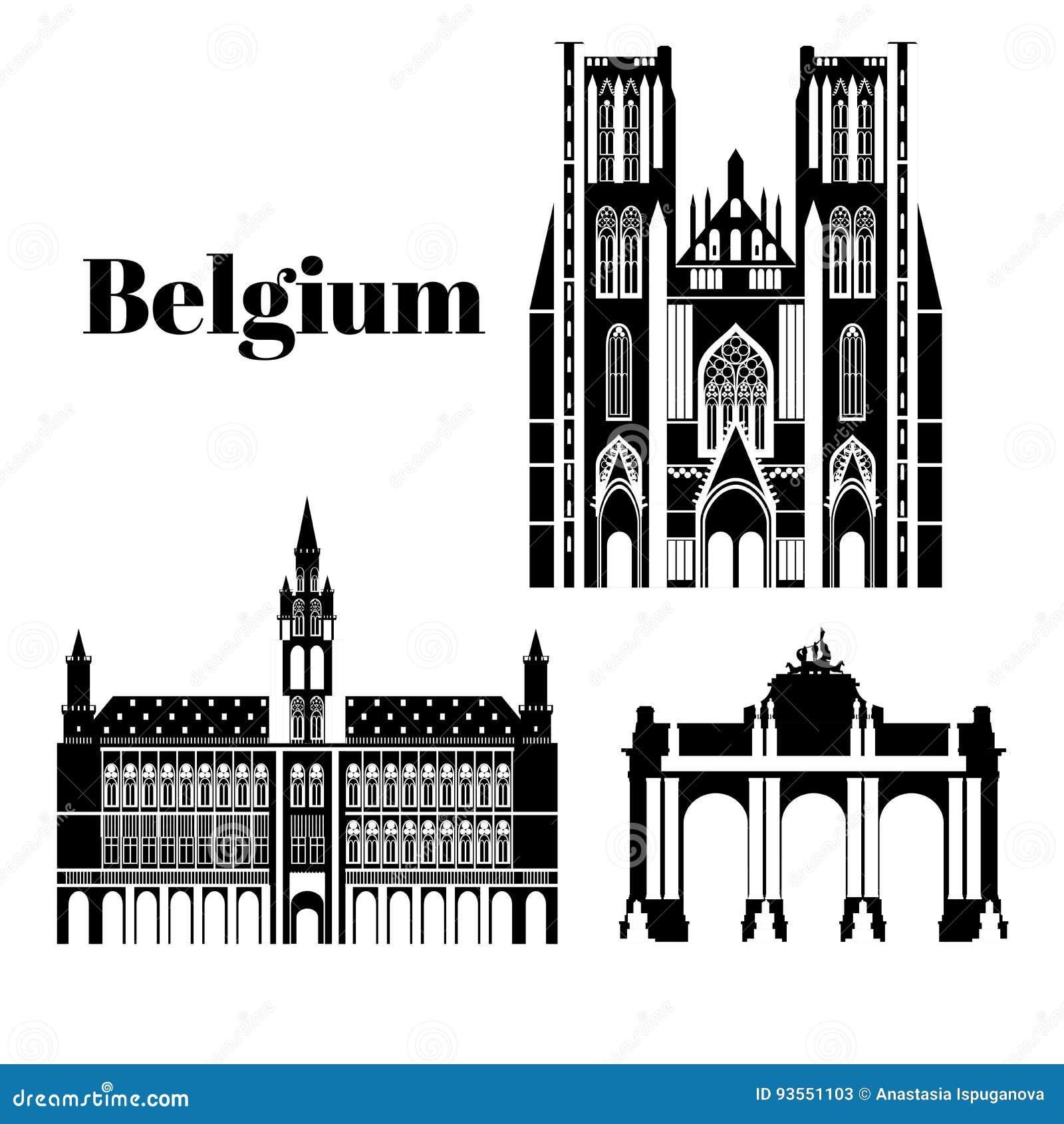 Vistas de la ciudad Señal de la arquitectura de Bruselas Elementos planos del viaje del país de Bélgica Catedral de San Miguel y