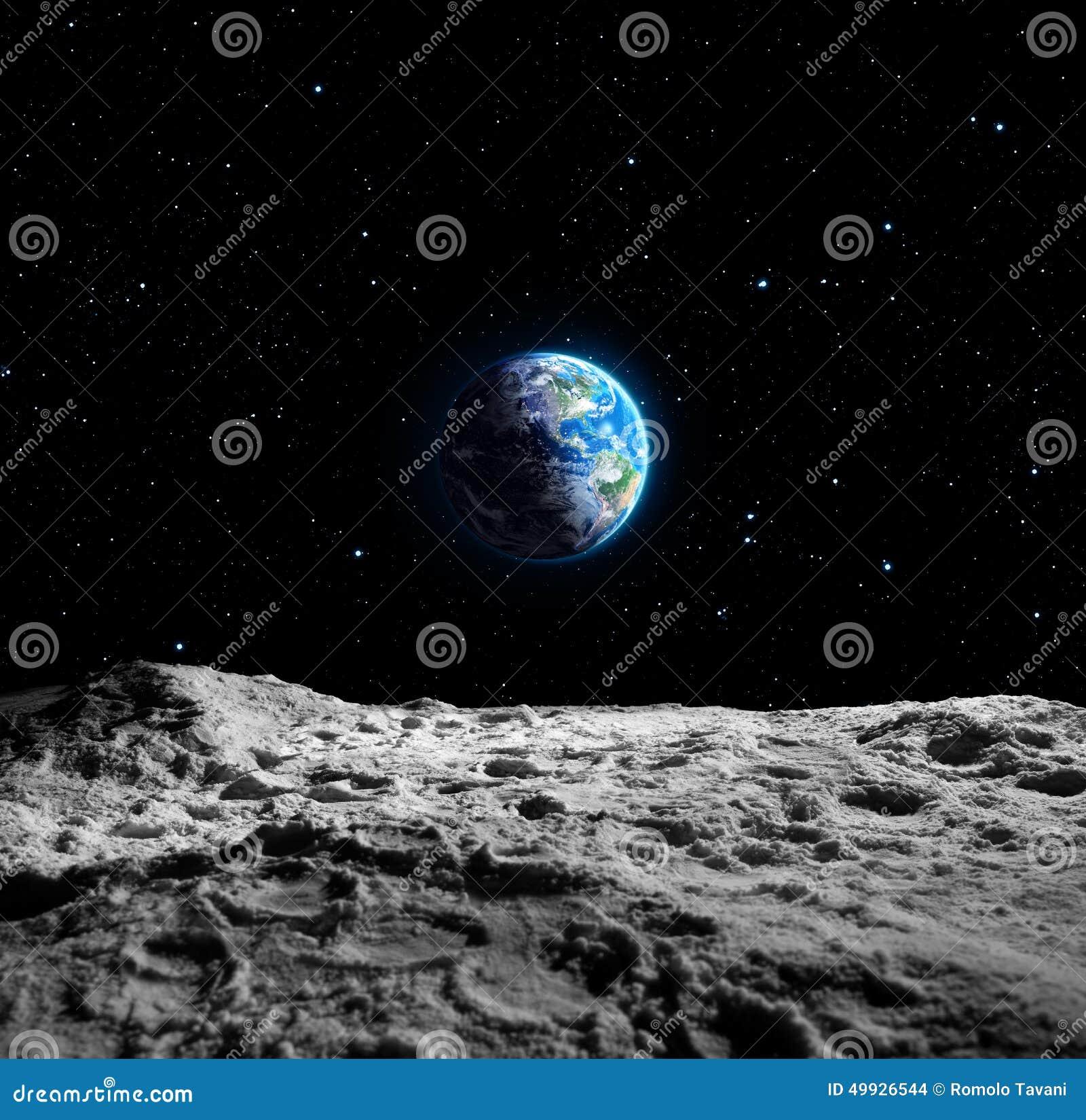 Vistas de la tierra de la luna