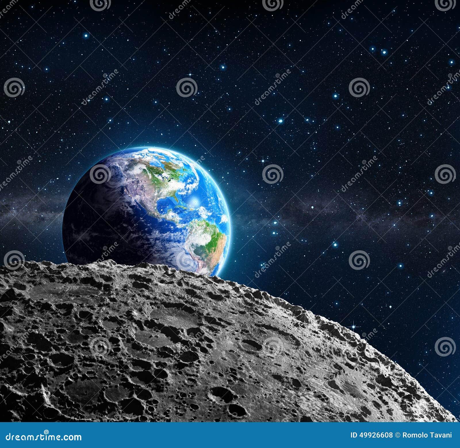 Vistas de la tierra de la superficie de la luna