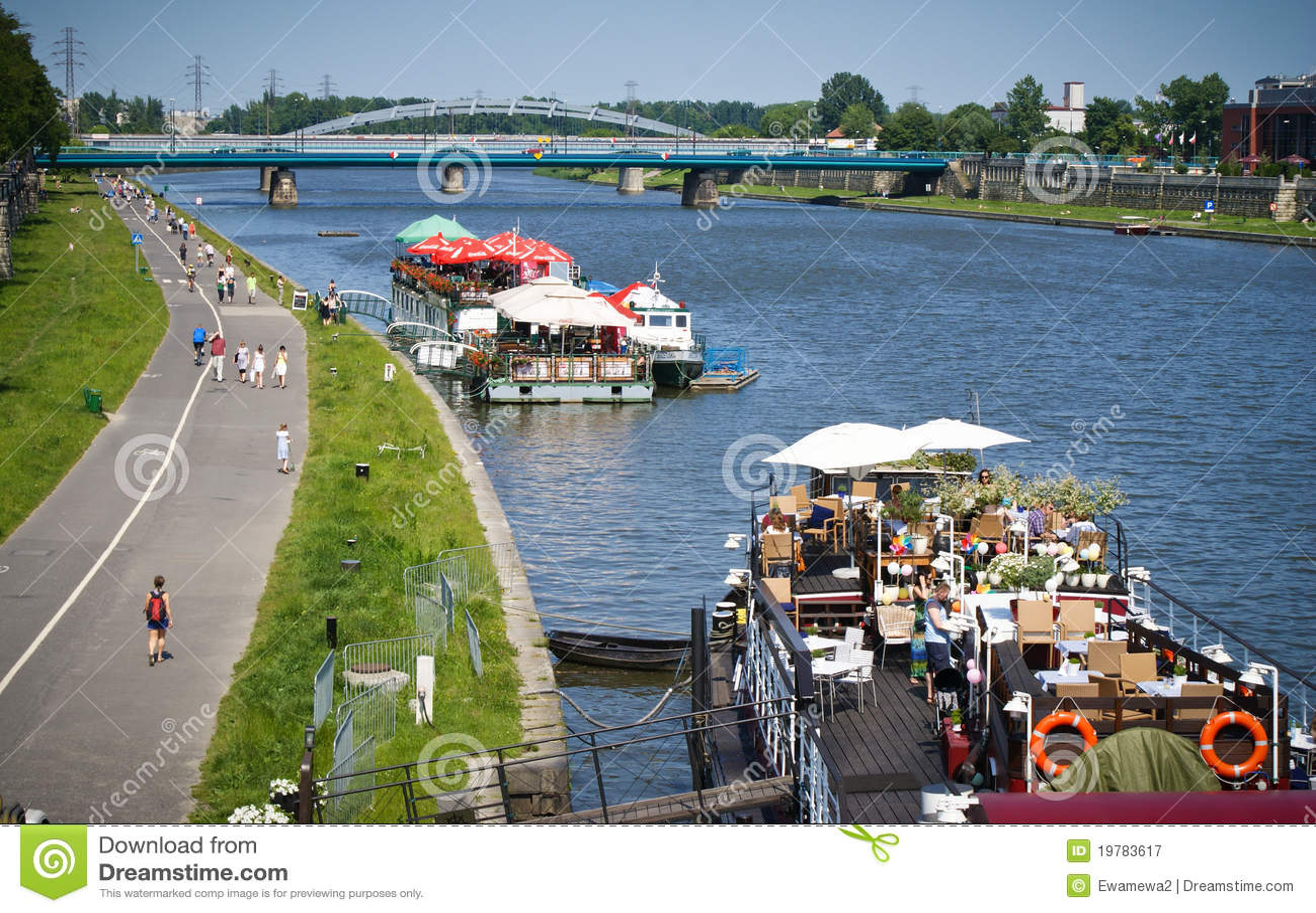 Wisla Krakow: Vistula/Wisla River Promenade, Krakow, Poland Editorial