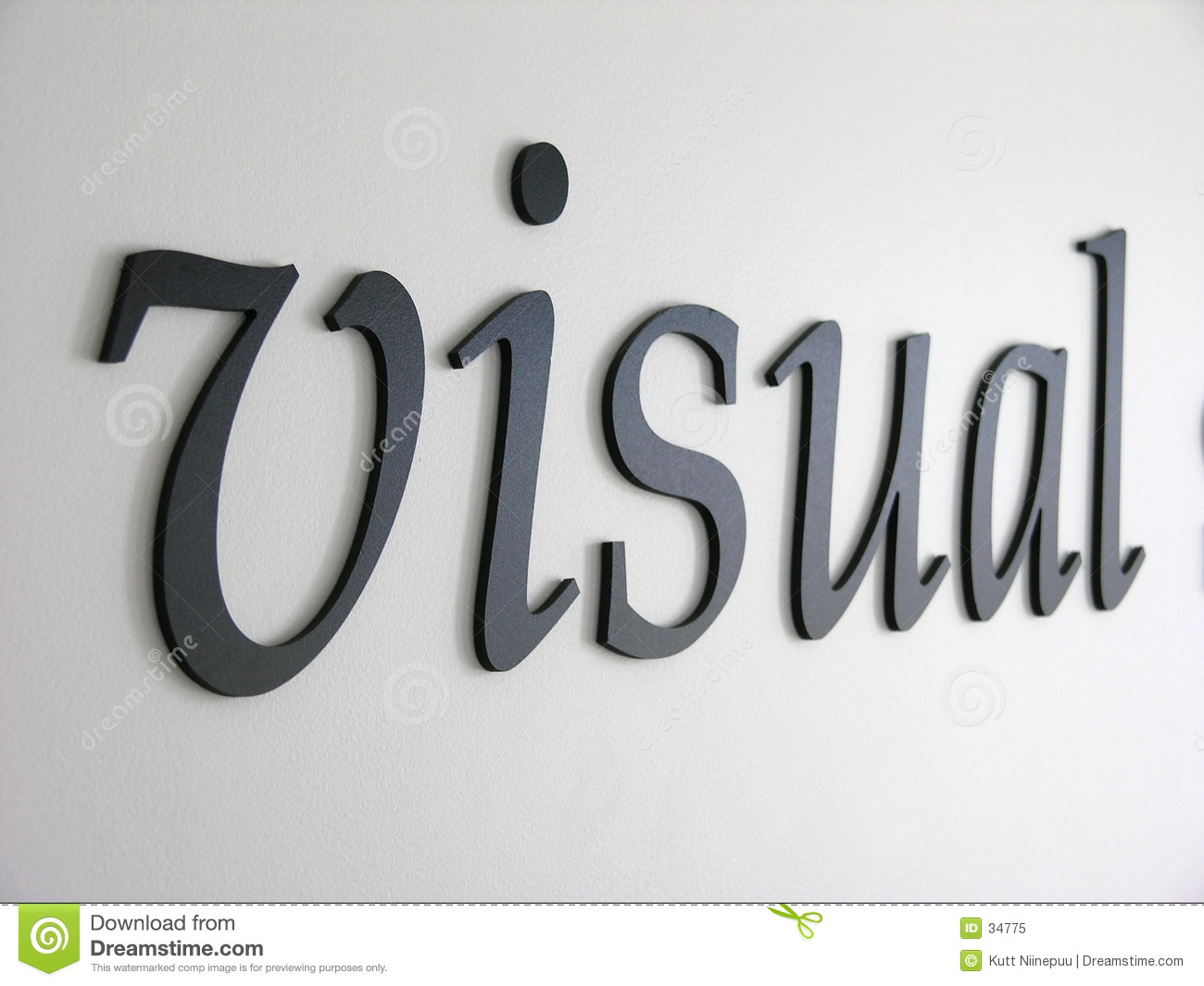 Embossed letters forming the word visual. Denim texture visible when ...