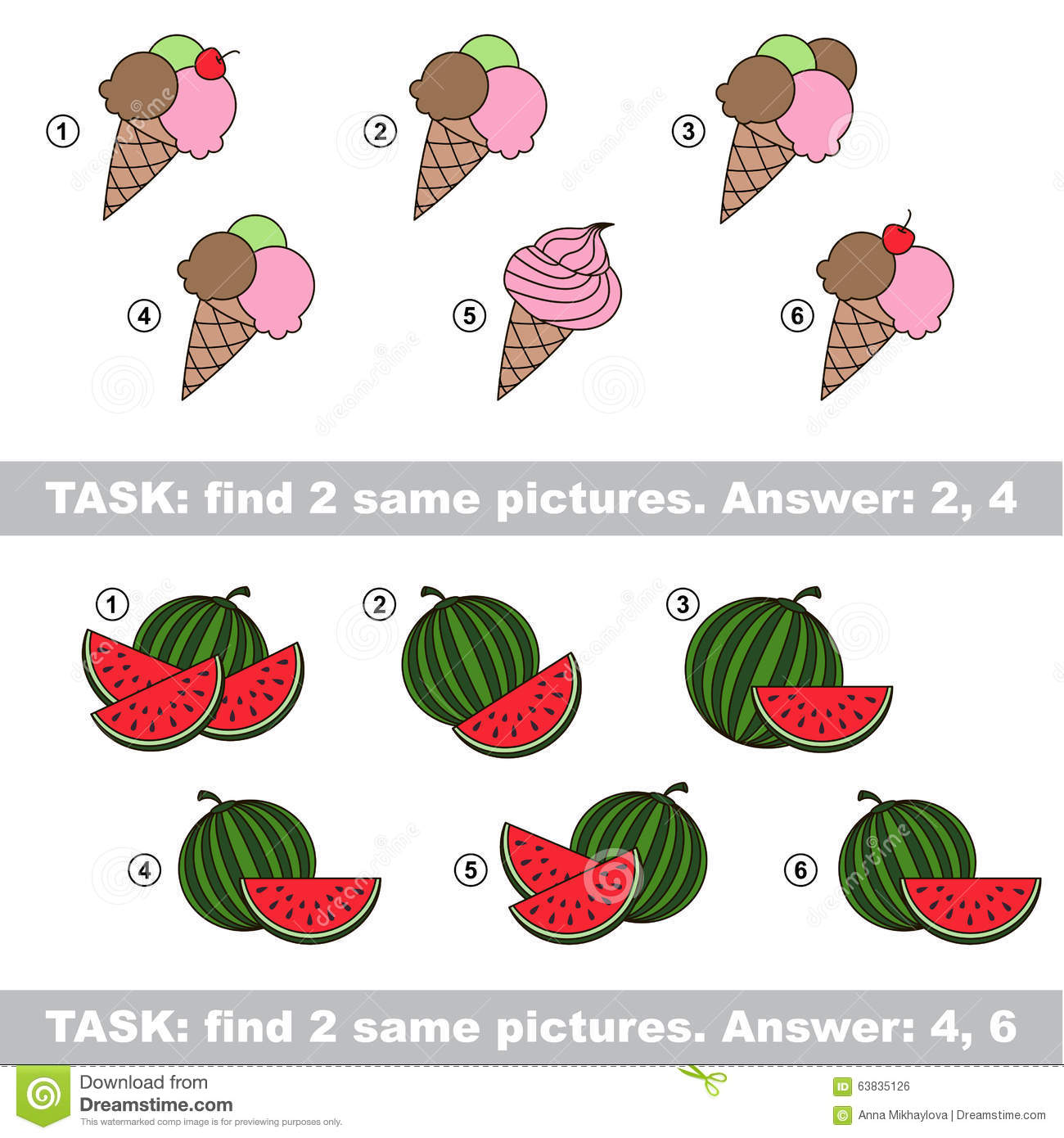 visual game find hidden couple of ice cream and watermelon stock
