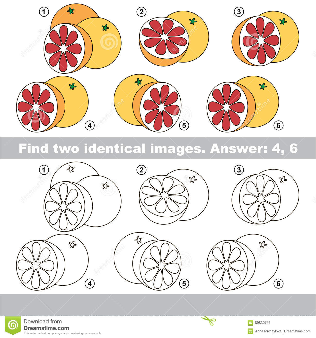 Visual Game Find Hidden Pair Of Fruis Stock Vector Illustration