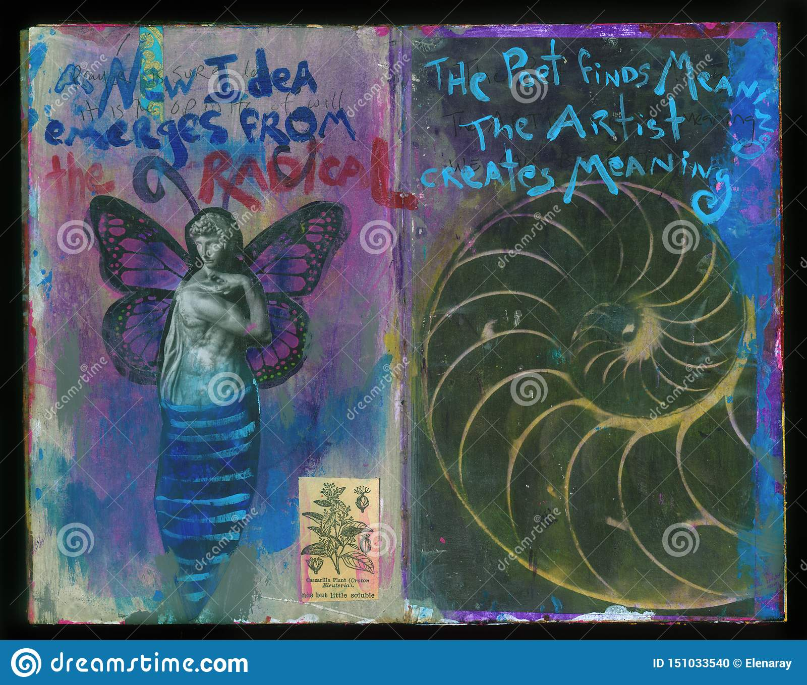 A New Idea Artist`s Crazy Wisdom Handmade Collage Art