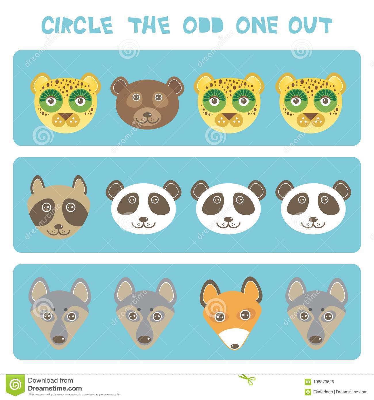 Image of: Fat Visual Logic Puzzle Circle The Odd One Out Kawaii Animals Fox Raccoon Panda Bear Wolf Dog Leopard Pastel Colors On Blue Background Vector Illustration Dreamstimecom Visual Logic Puzzle Circle The Odd One Out Kawaii Animals Fox