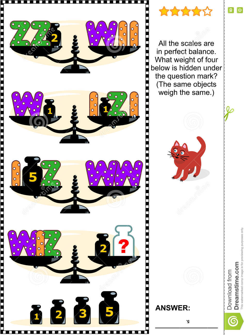 visual math puzzle with scales weights and letters i w z