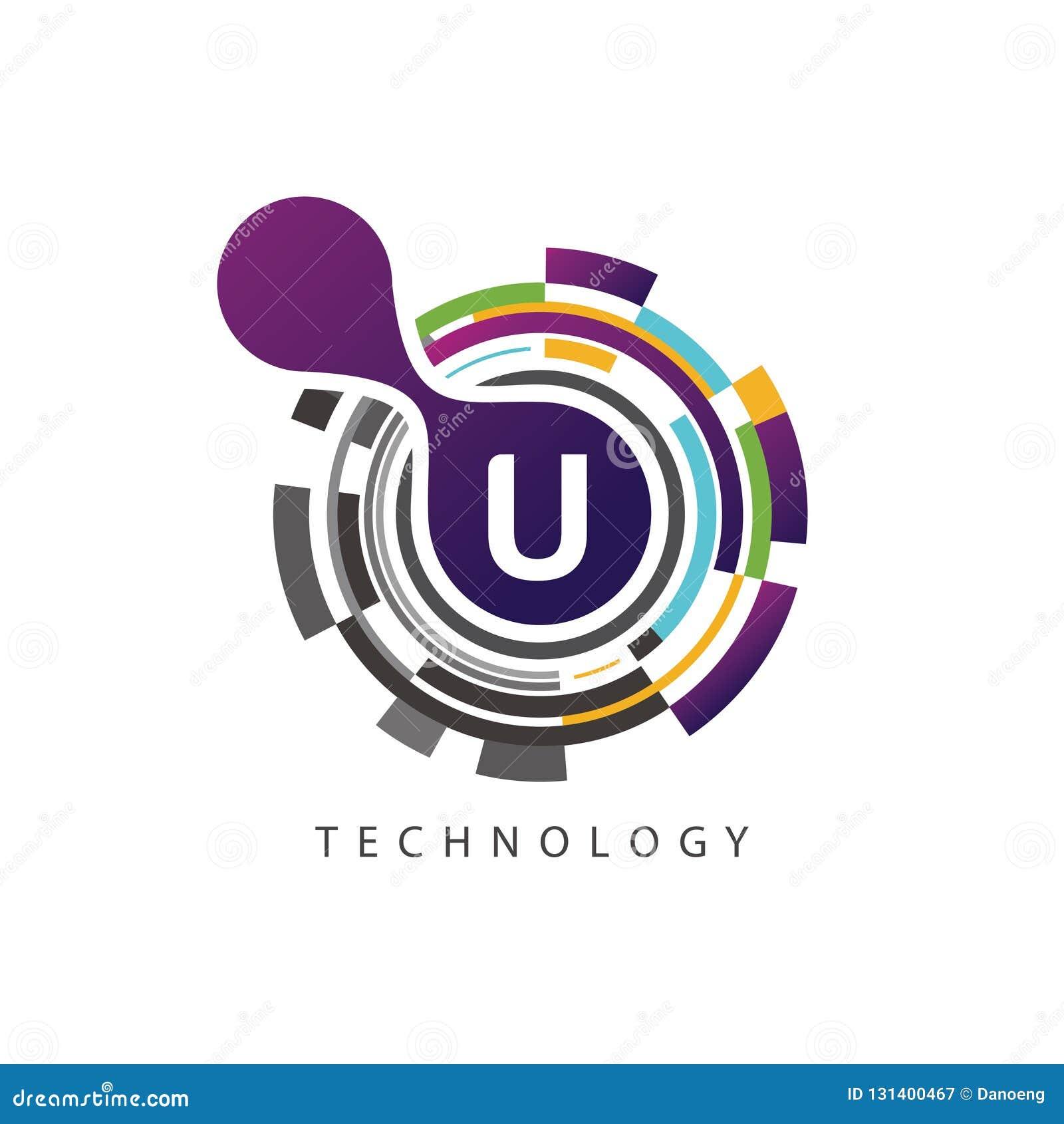 Visual pixel techno U Letter Logo