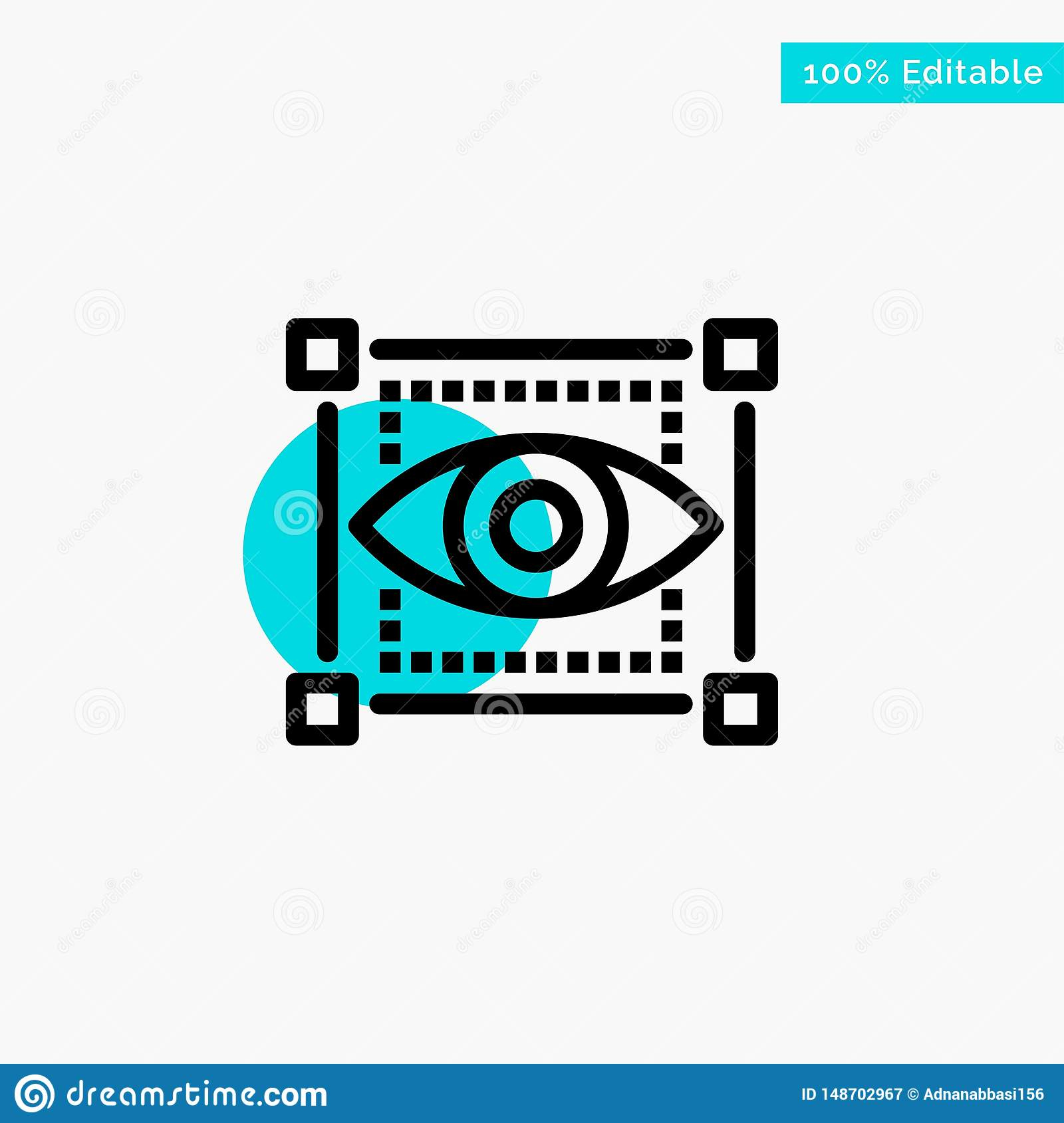 Visual, View, Sketching, Eye turquoise highlight circle point Vector icon