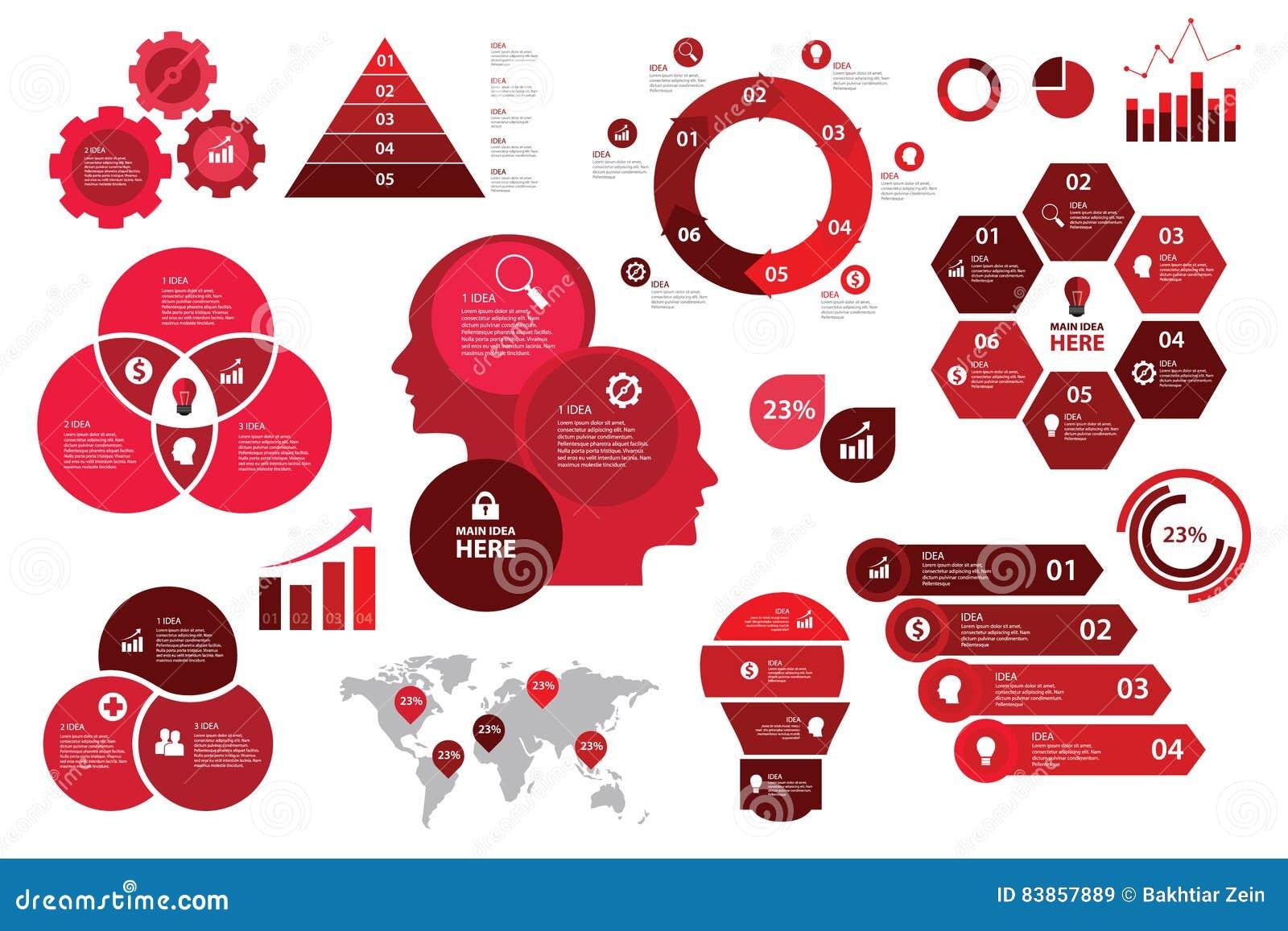 Visualisation rouge réglée de diagramme d éléments de flèche de graphique de gestion de modèle de couleurs d Infographic