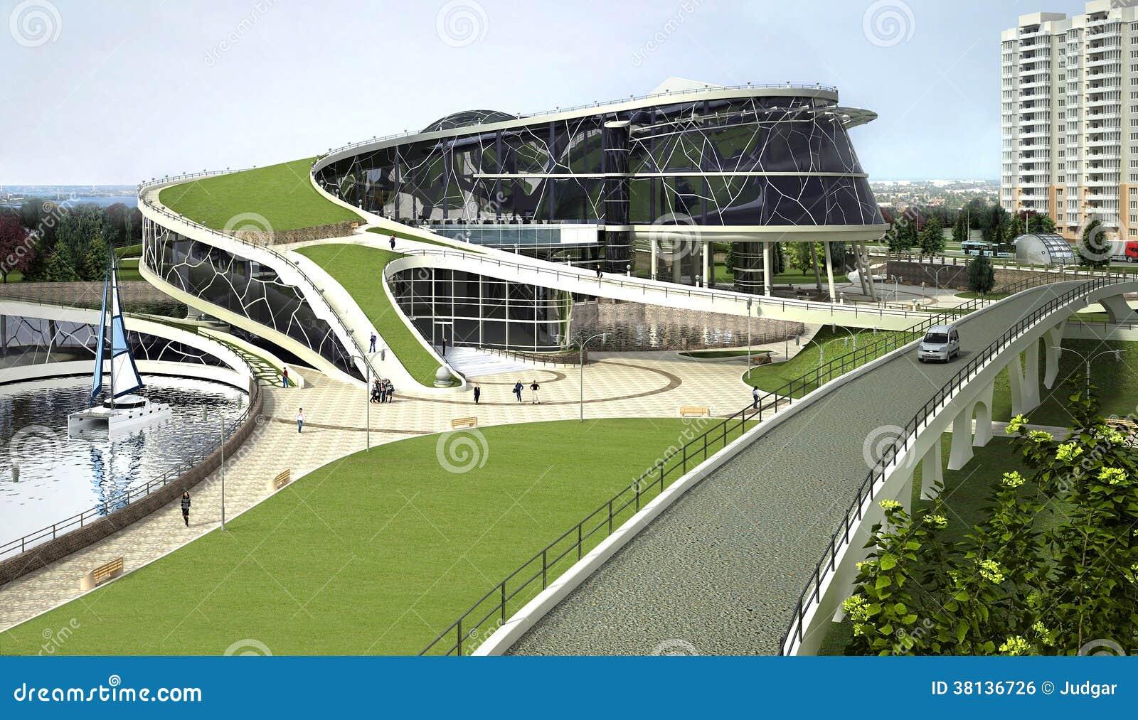 Visualização 3D da construção do eco com formulário biônico e tecnologias energia-eficientes.