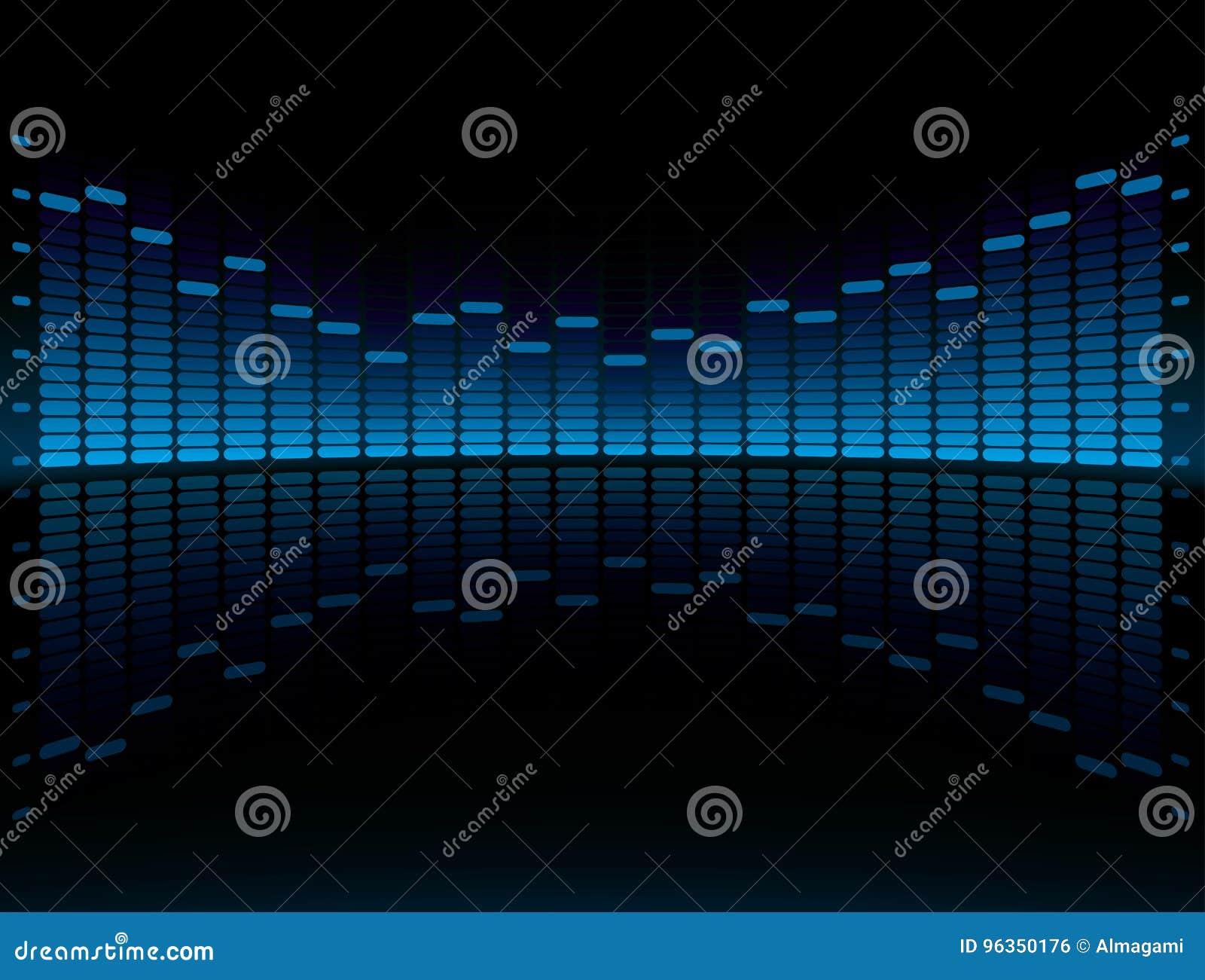 Visualización gráfica azul del equalizador