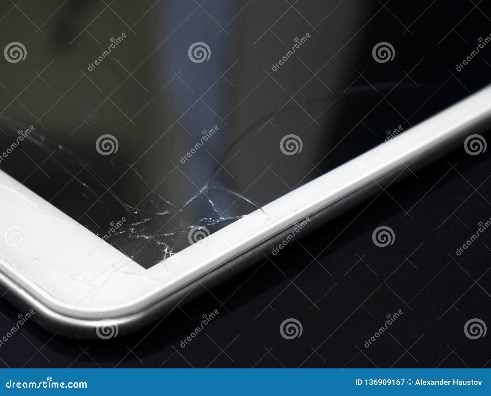 Visualización quebrada Tableta de cristal agrietada, dispositivo