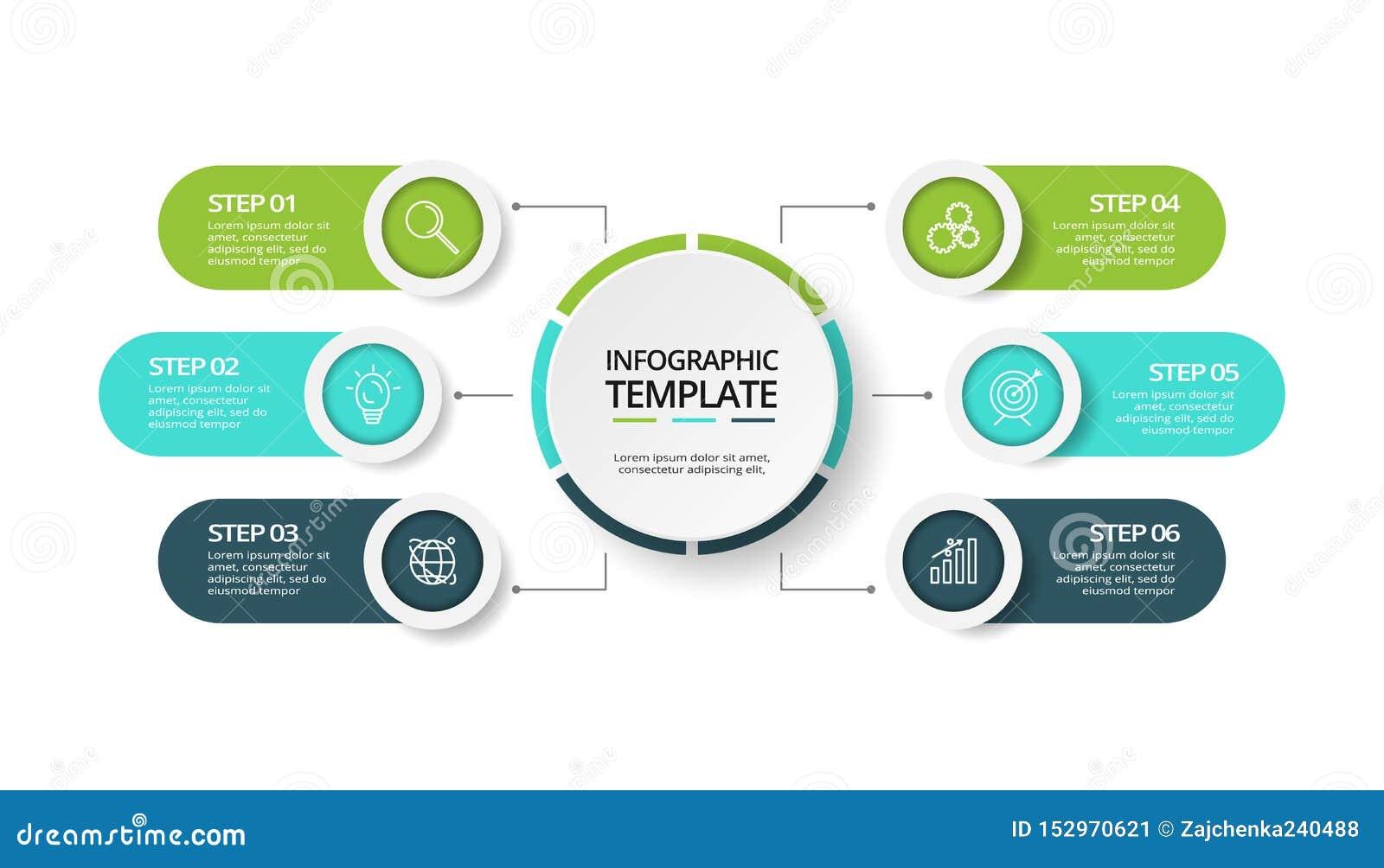 Visualizaci?n de los datos de negocio Carta de proceso Elementos del gráfico, del diagrama con 6 pasos, de opciones, de piezas o