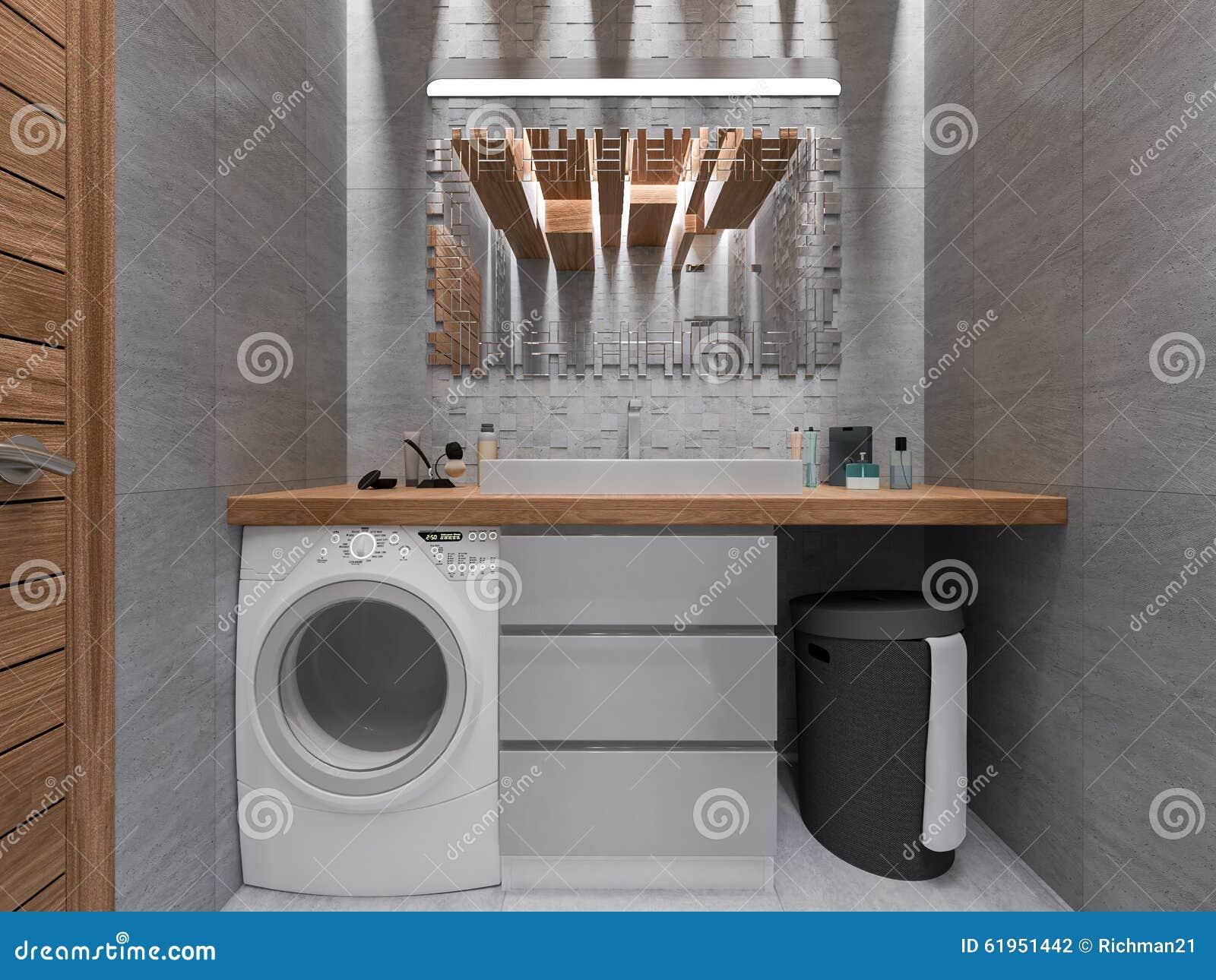 Visualization 3d av ett badrum i en grå sten och en mosaik med ...