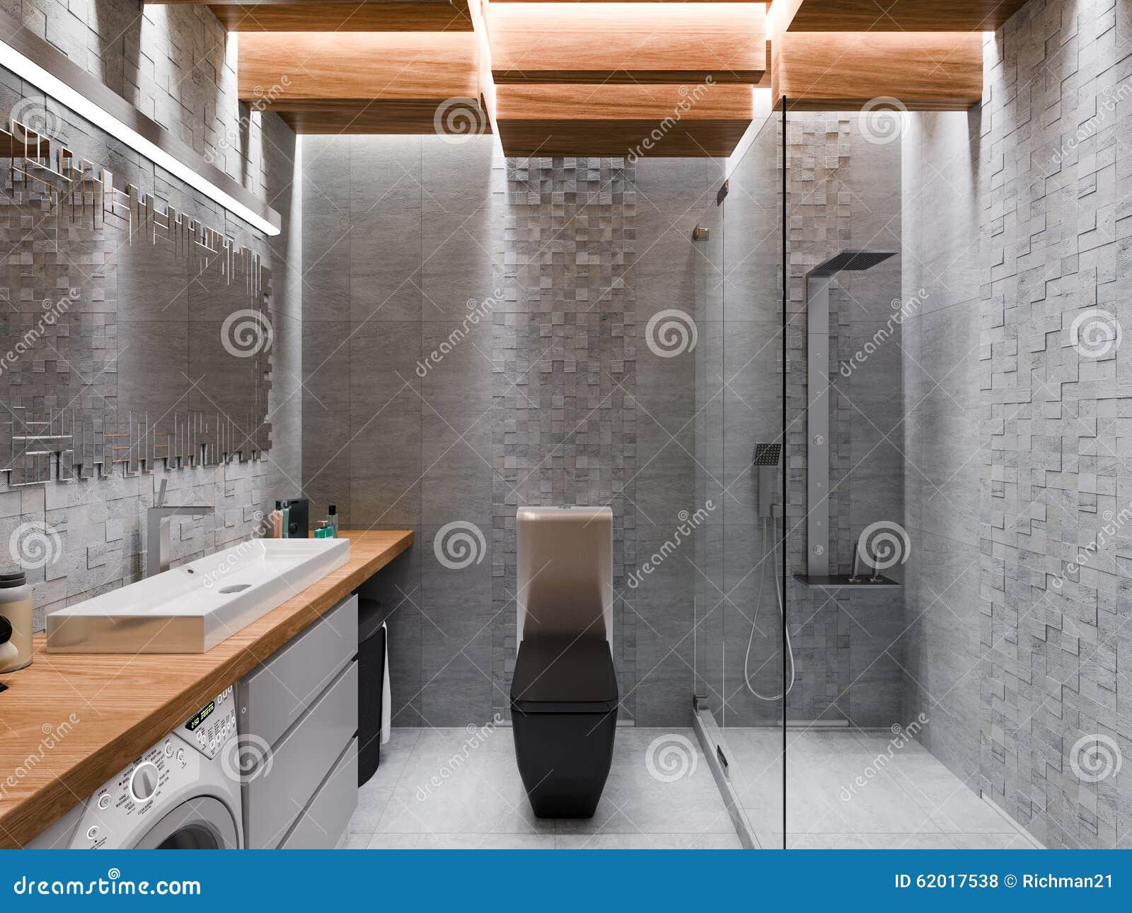 Visualization 3d av ett badrum i en grå sten och en mosaik stock ...