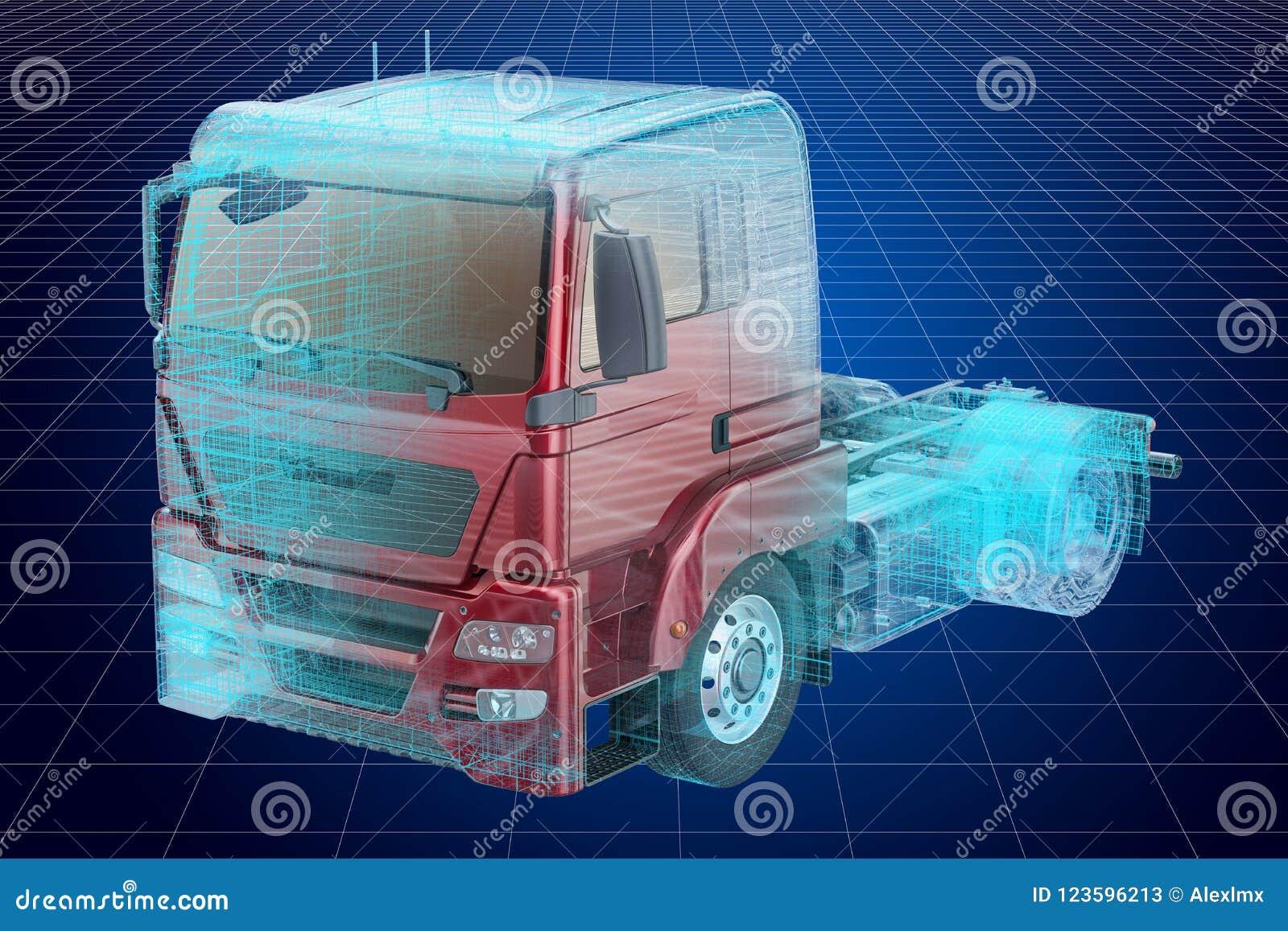 Visualization 3d Cad Model Of Truck, Blueprint  3D Rendering