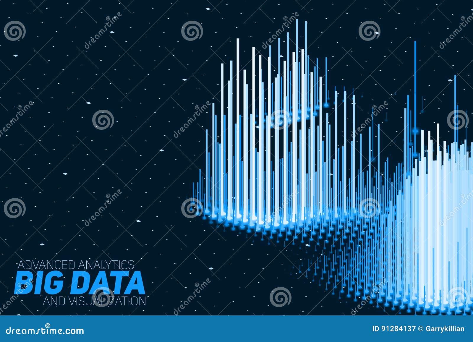 Visualization för data 3D för vektor abstrakt stor med stänger Estetisk design för futuristisk infographics V