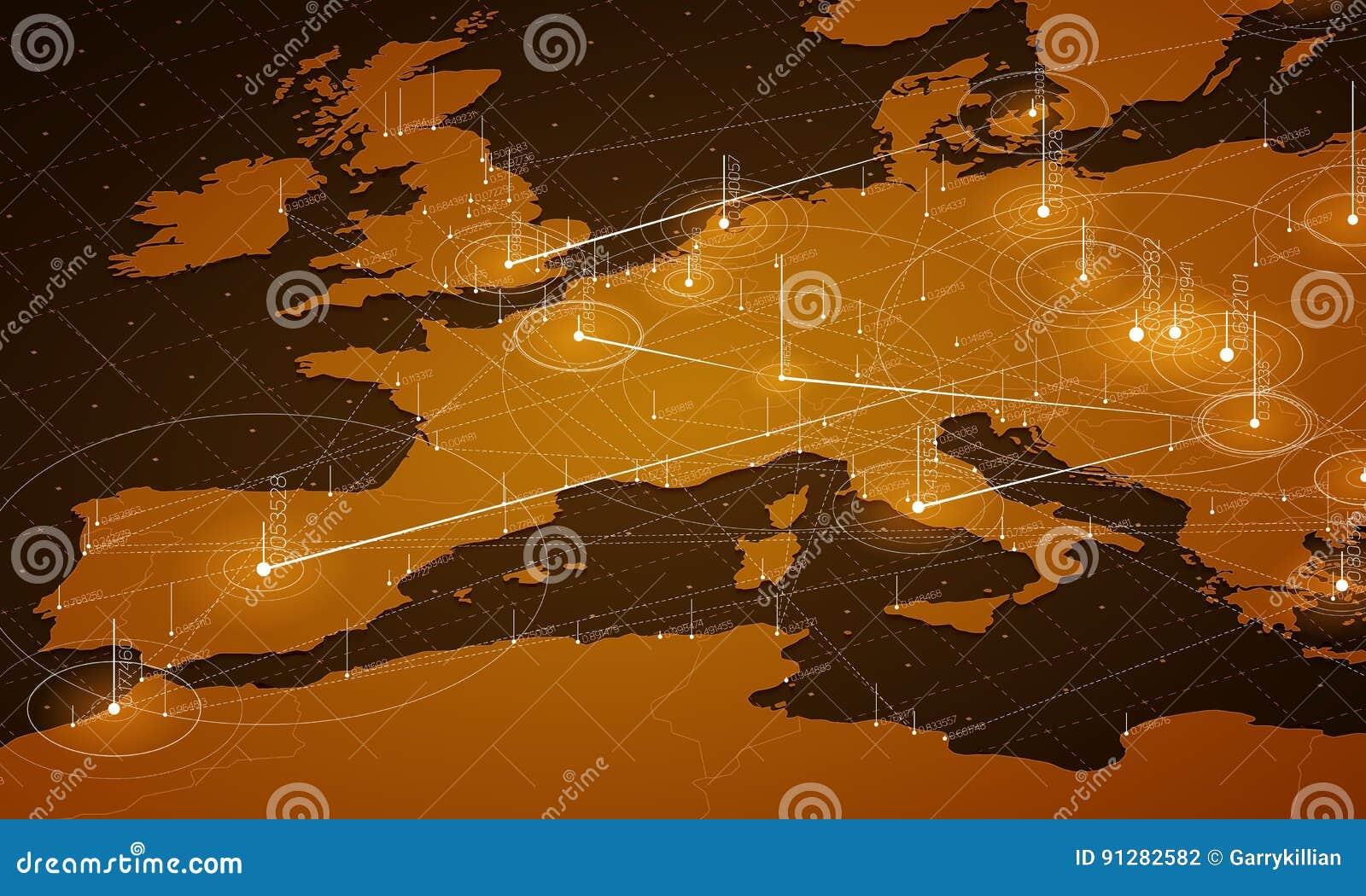 Visualization för data Europa för orange översikt stor Infographic futuristisk översikt Informationsestetik Visuell datakomplexit