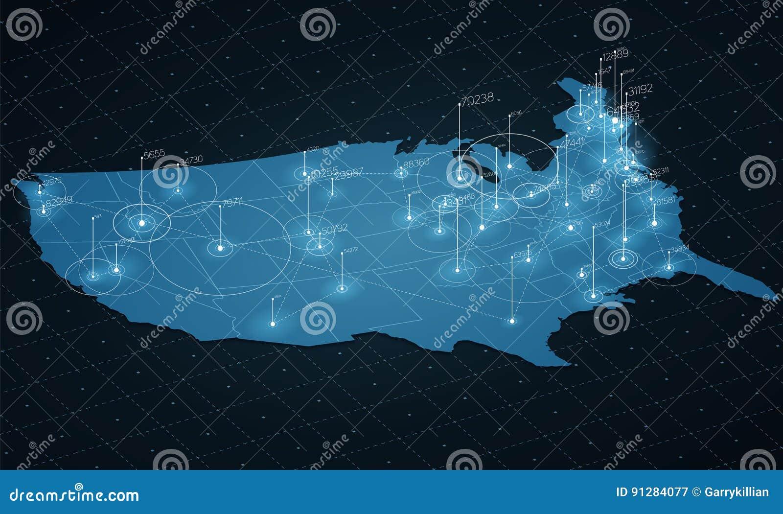 Visualization för data för USA översikt stor Infographic futuristisk översikt Informationsestetik Visuell datakomplexitet