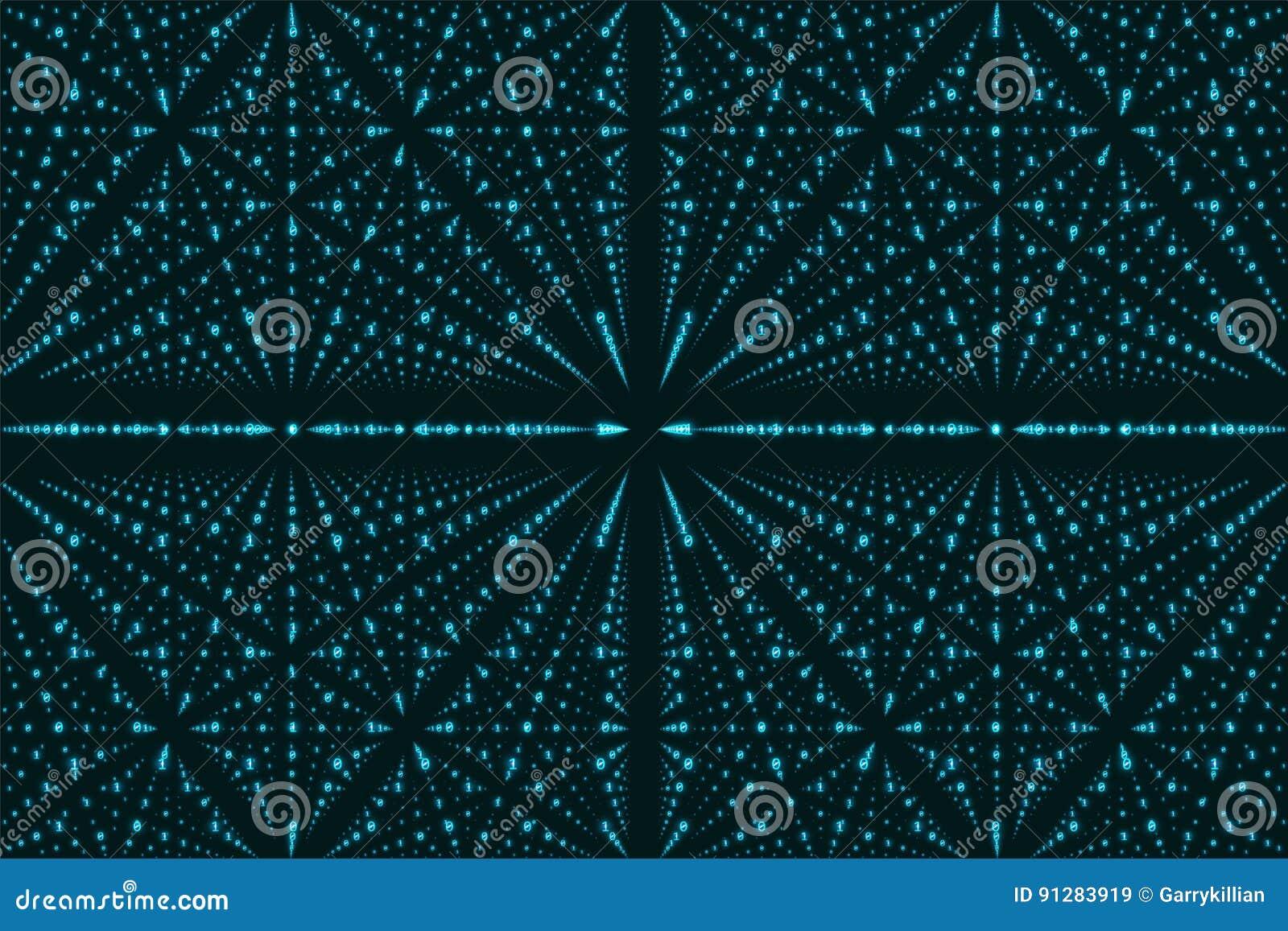 Visualization för matris för vektoroändlighetsdata Blå stor datastruktur med binärt nummergaller