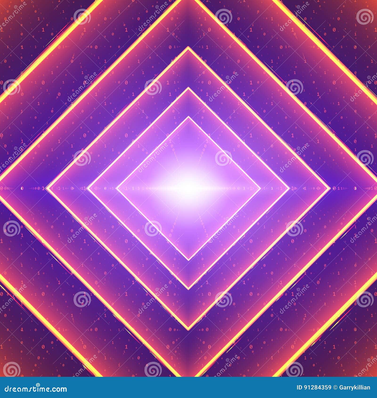 Visualization för vektordataflöde Fyrkantig glödande tunnel av färgrikt stort dataflöde som binära rader Cybervärld av koden