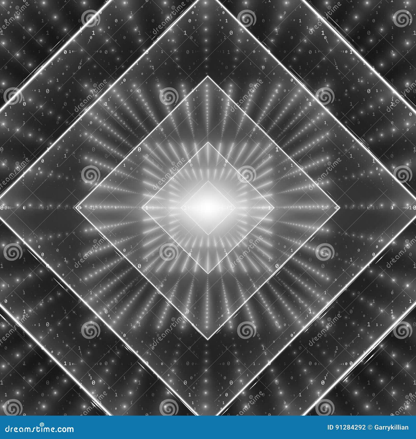 Visualization för vektordataflöde Fyrkantig glödande tunnel av stort dataflöde för gråton som binära rader Cybervärld av koden