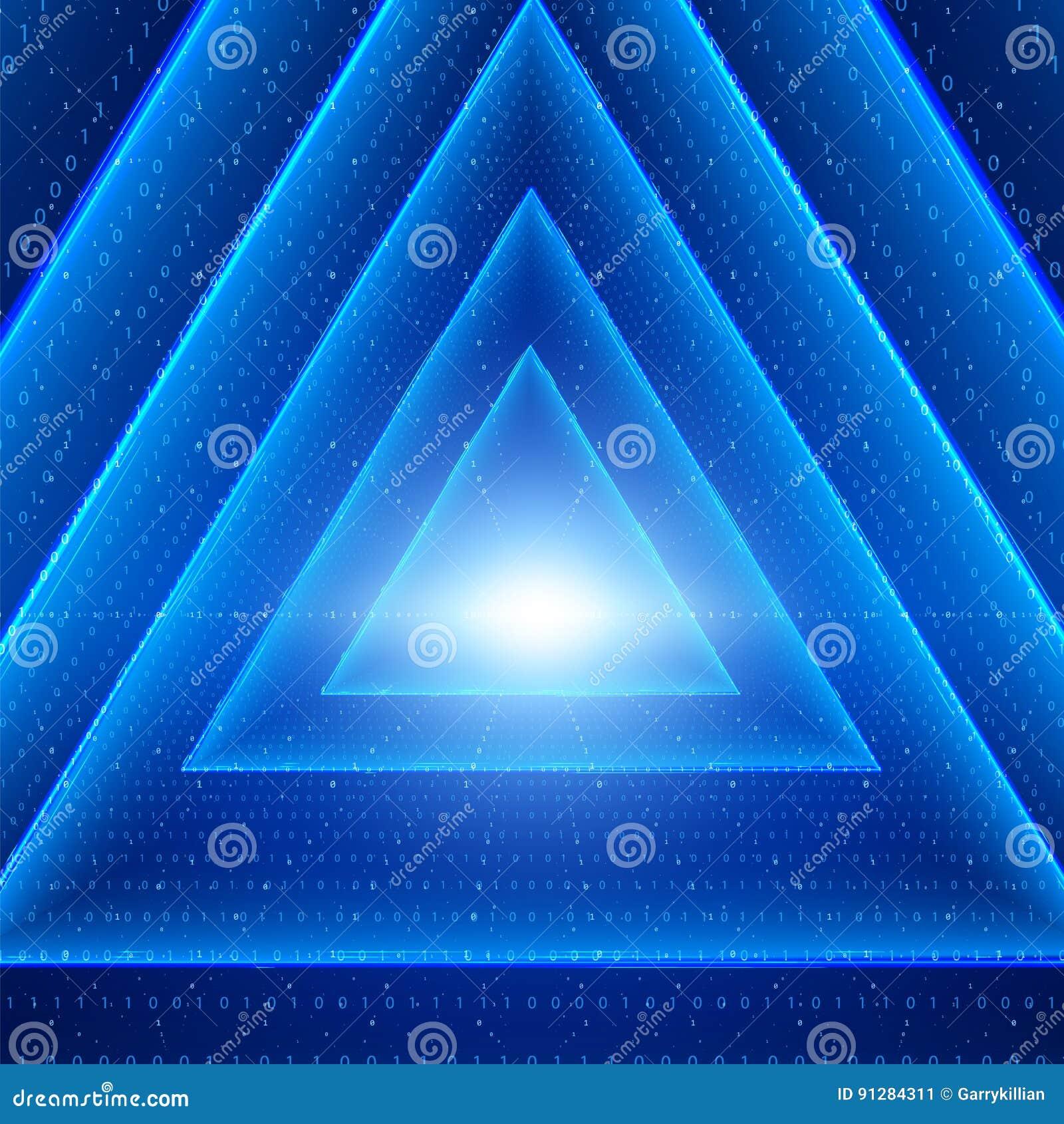 Visualization för vektordataflöde Glödande tunnel för triangel av blått stort dataflöde som binära rader
