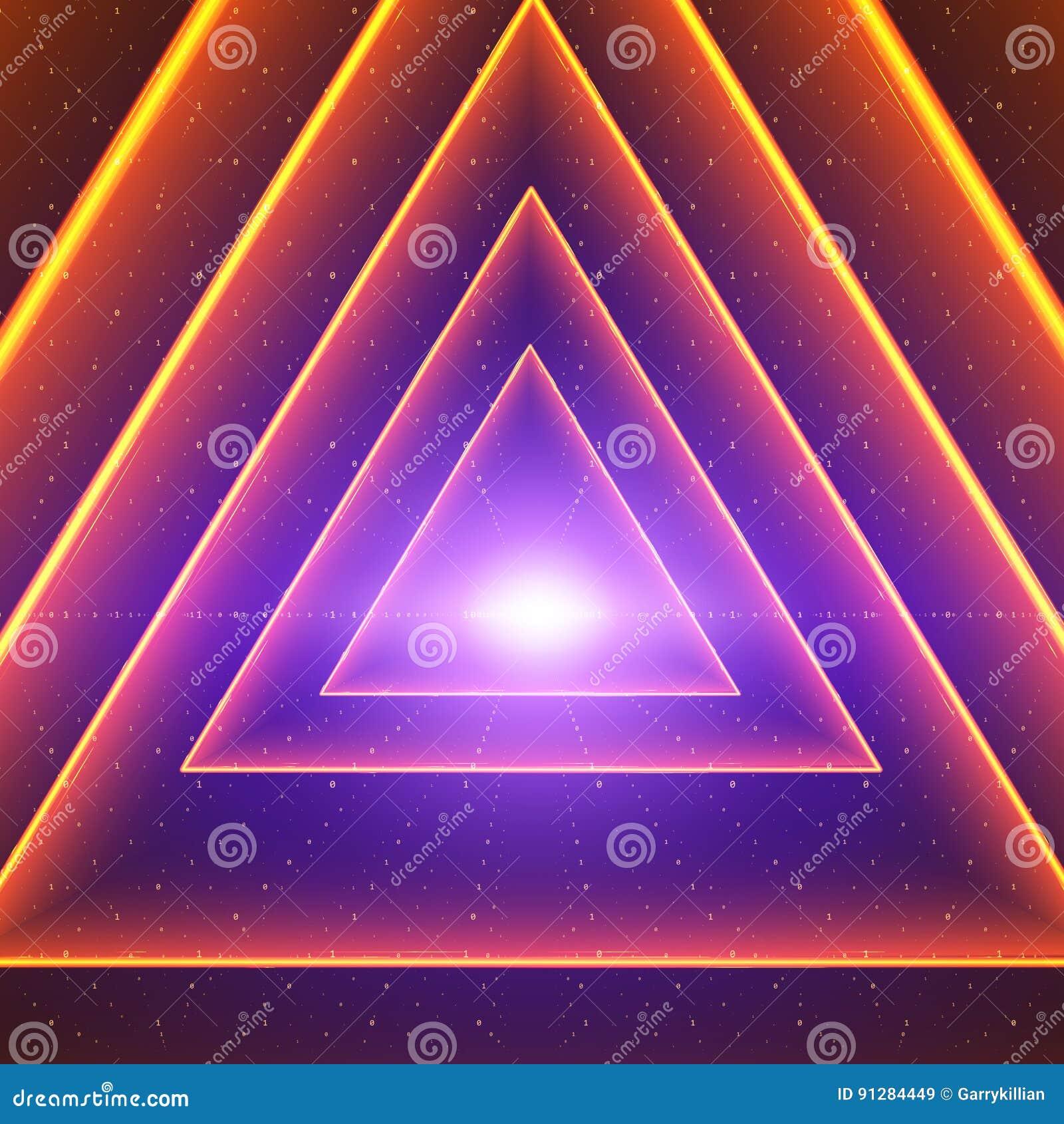 Visualization för vektordataflöde Glödande tunnel för triangel av färgrikt stort dataflöde som binära rader Cybervärld av koden
