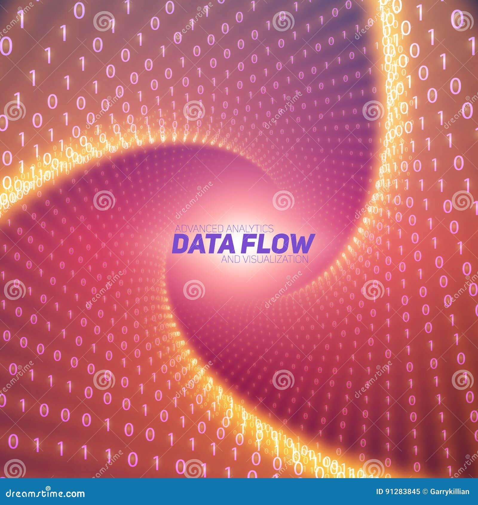 Visualization för vektordataflöde Rött flöde av stora data som binära nummerrader vred i tunnel