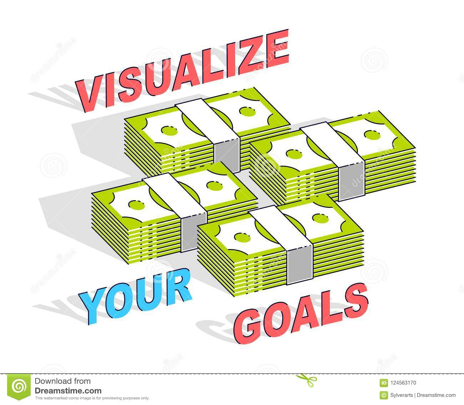 Visualize sua cartaz da motivação do negócio dos objetivos ou bandeira, dinheiro