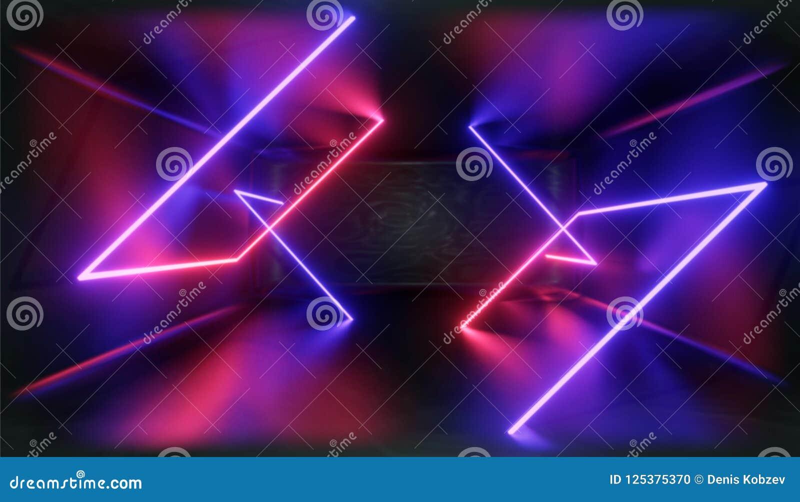 Visualizzazione 3d Figura geometrica alla luce al neon contro un tunnel scuro Incandescenza del laser