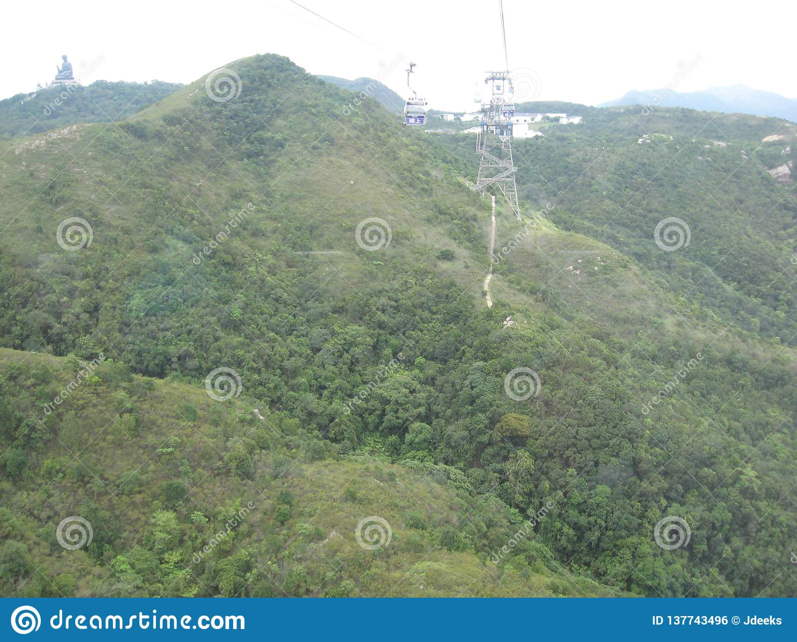 Visualizzazione di fascino dalla teleferica di ping di Ngong, isola di Lantau, Hong Kong
