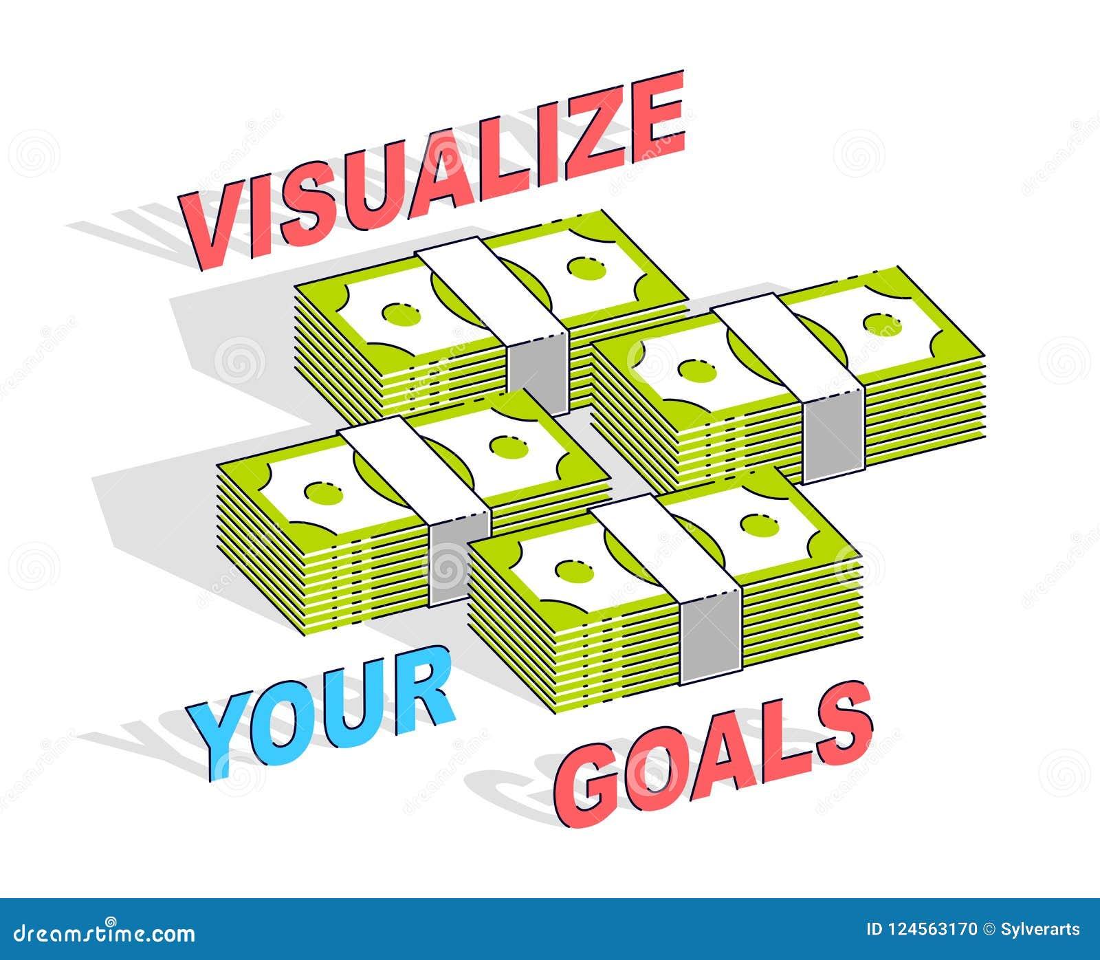 Visualizzi il vostro manifesto di motivazione di affari di scopi o insegna, contanti