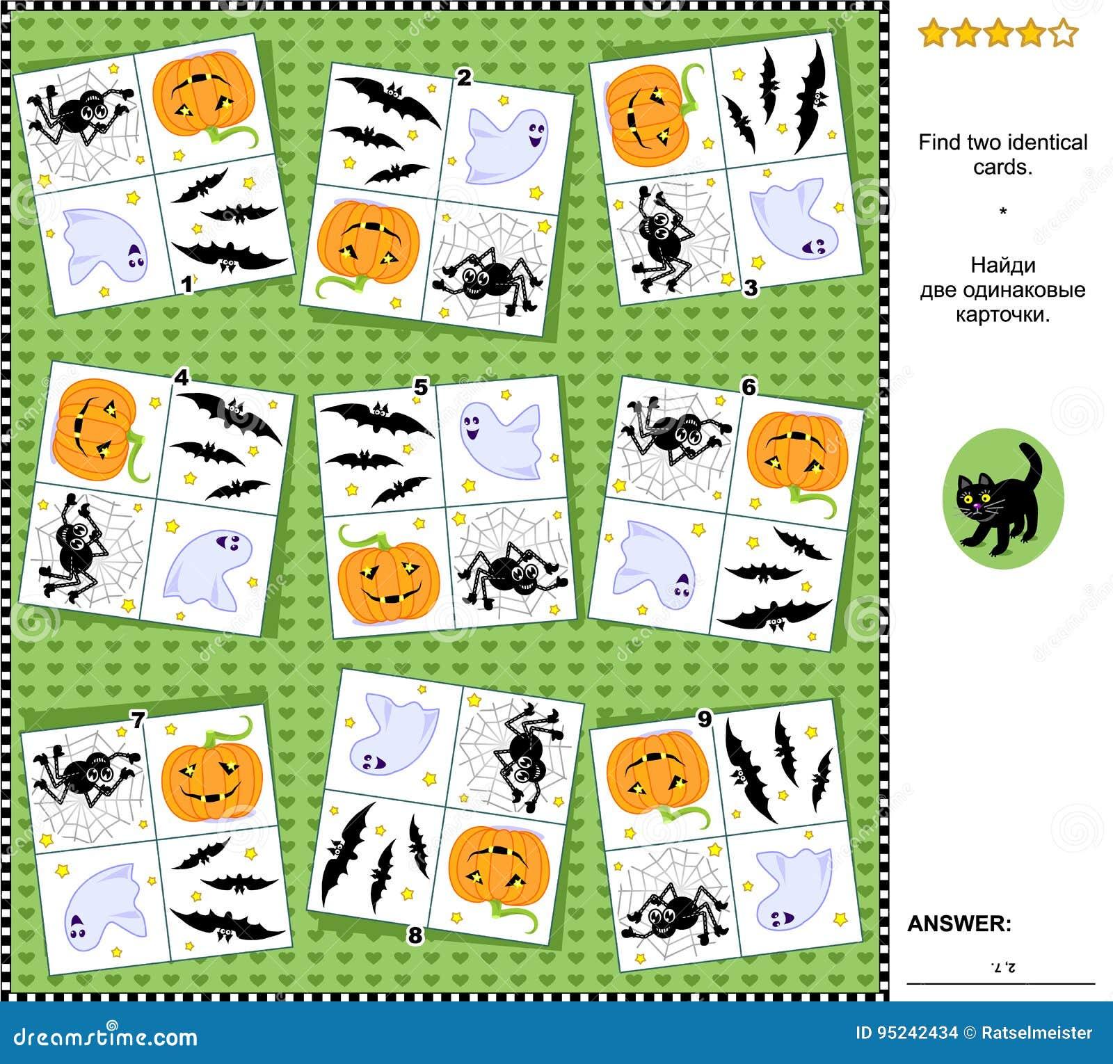 Raadsels Halloween.Visuele Riddle Vind Twee Identieke Kaarten Met Halloween