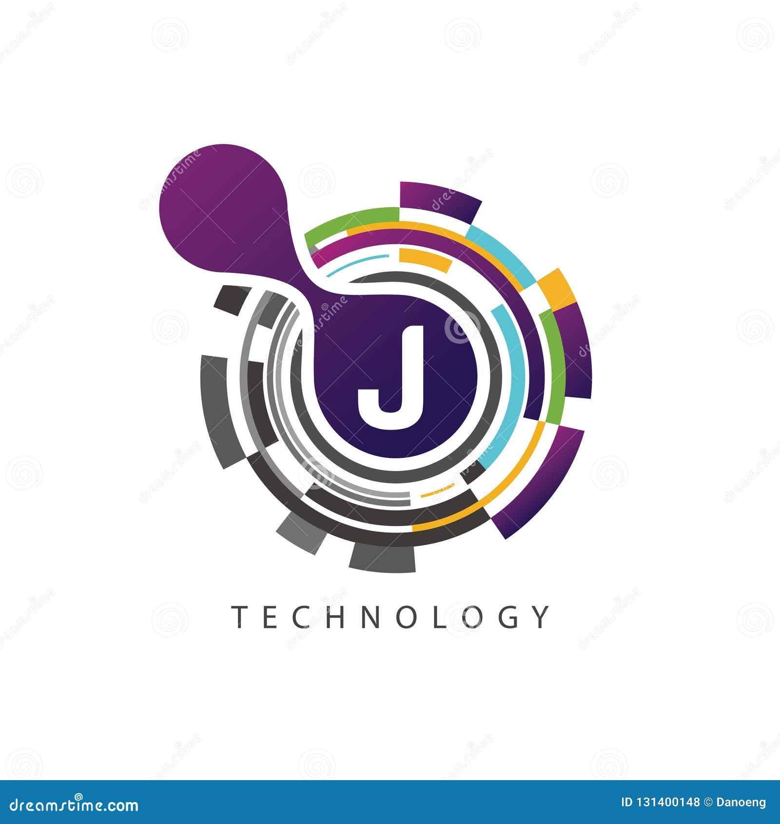 Visuell logo för bokstav för PIXELtechno J