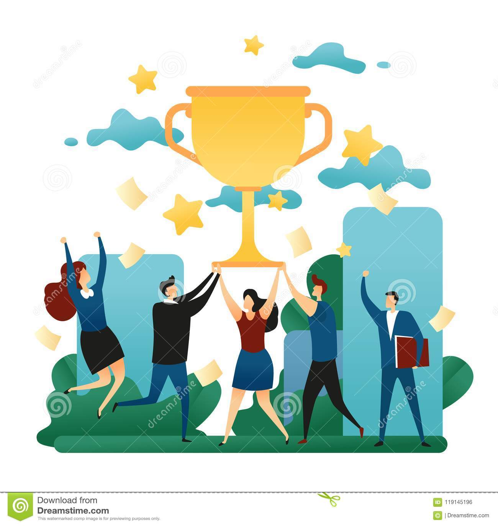 Vitória cooperativa dos trabalhos de equipa do escritório Vitória feliz dos povos na equipe Primeiro lugar no negócio com um copo