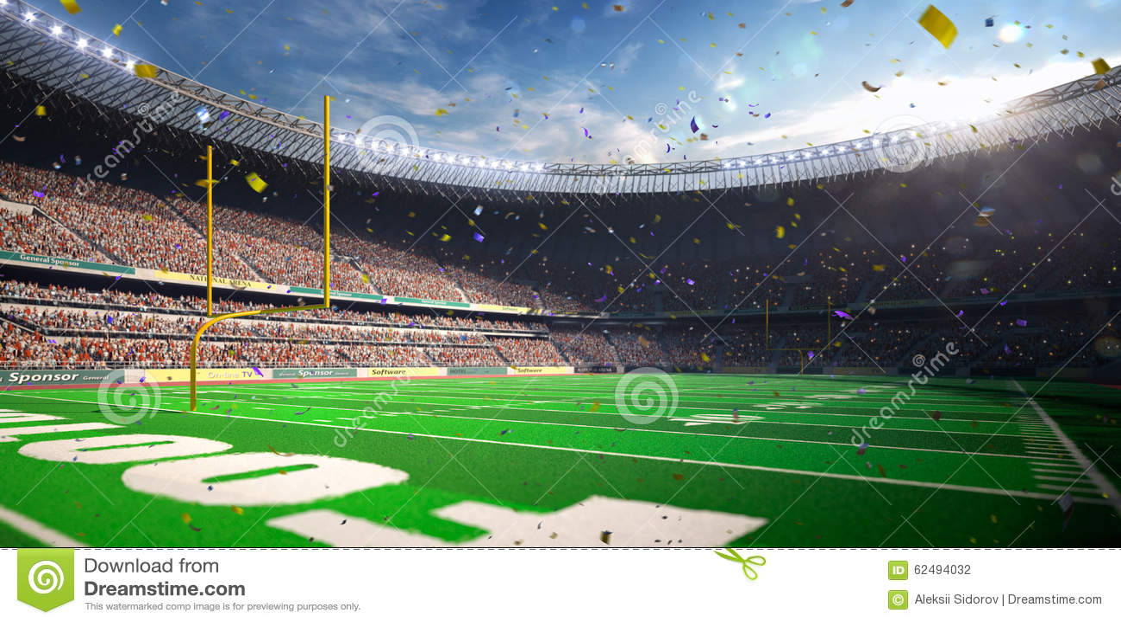 Vitória do campeonato do dia do estádio da arena do futebol Tonificação azul