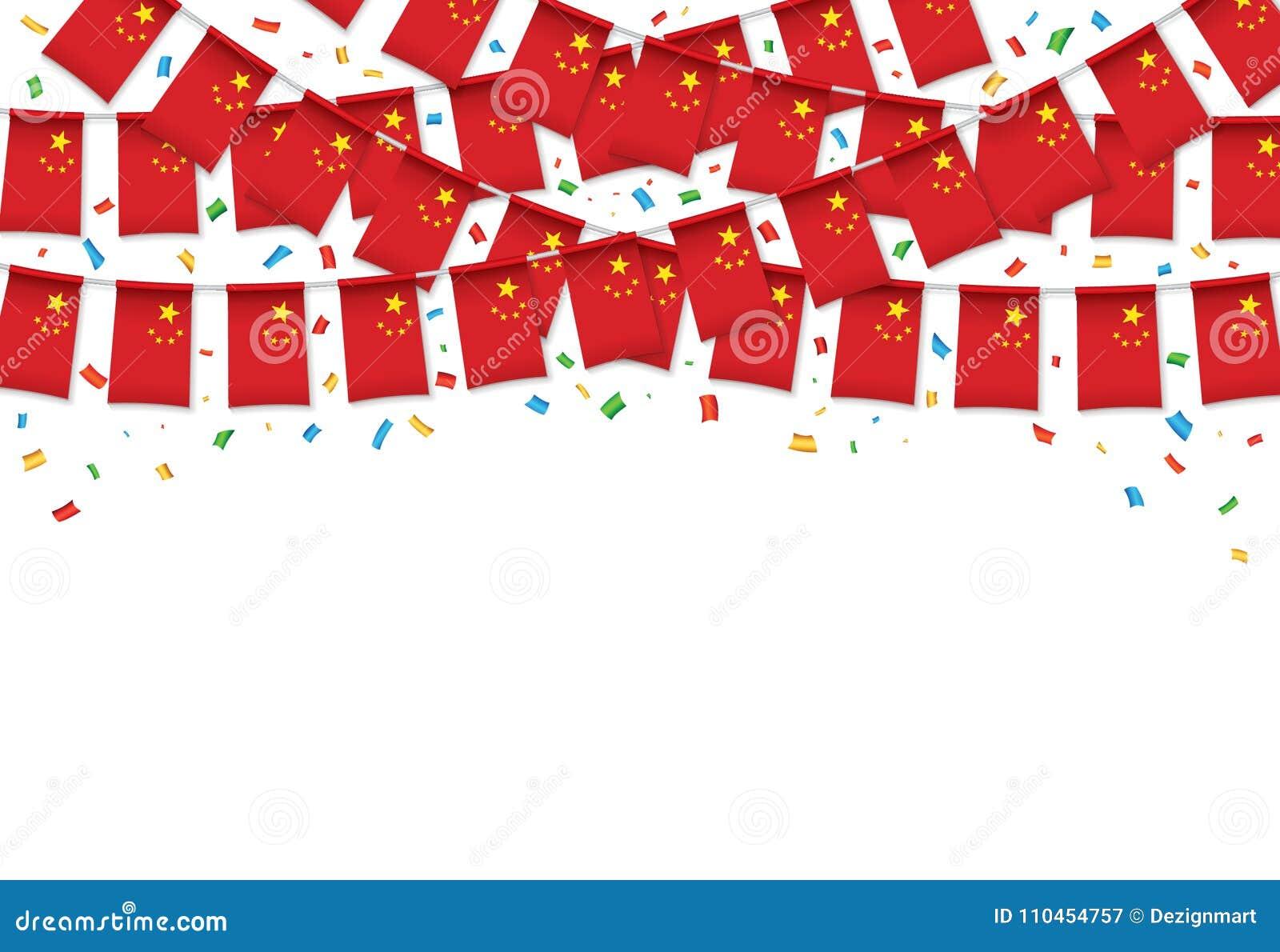 Vit bakgrund för Kina flaggagirland med konfettier, hängningbunting för kinesisk självständighetsdagen